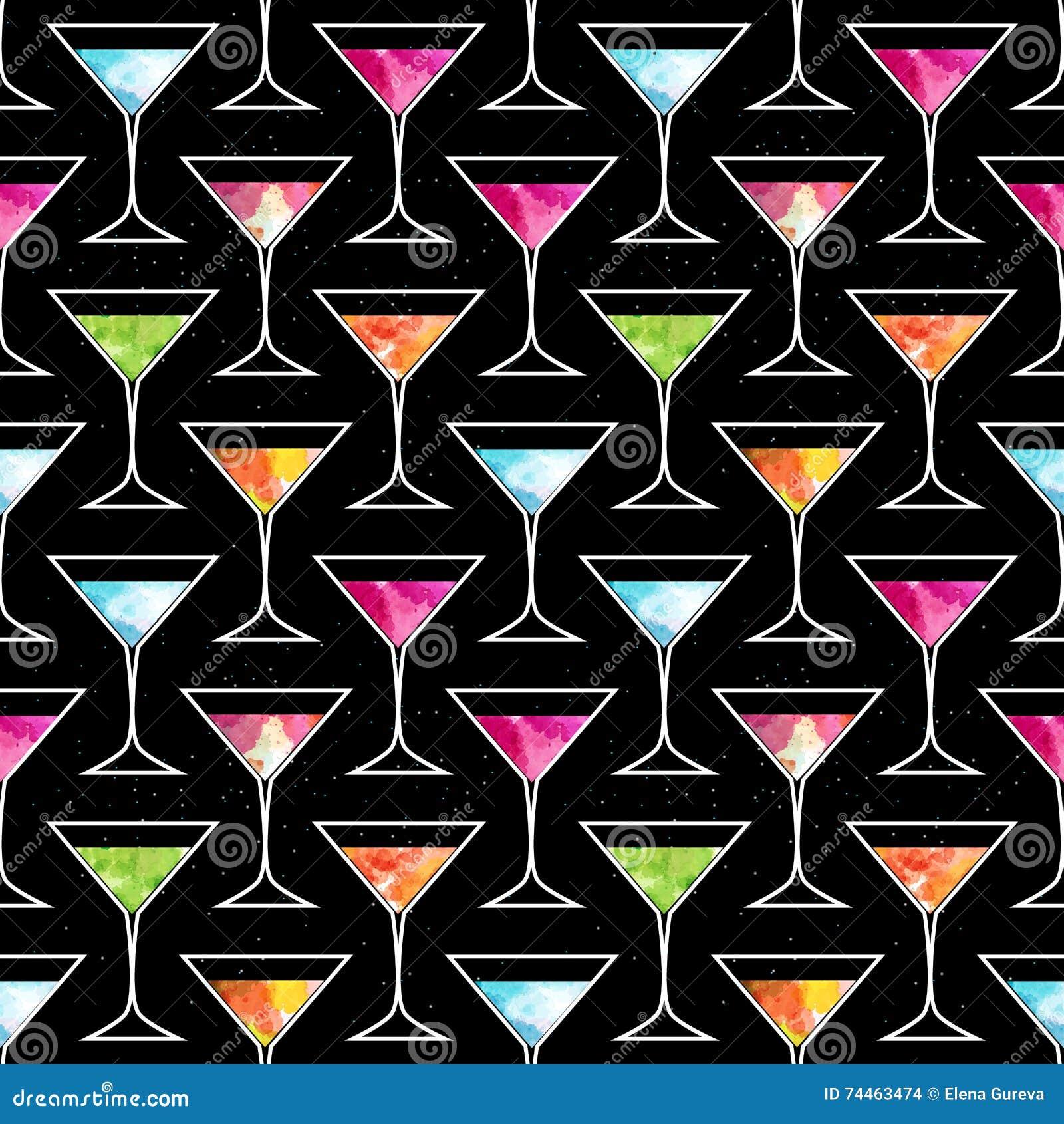Teste padrão sem emenda do cocktail do disco com vidro na moda de Martini em um fundo preto com elementos da aquarela Inseto ou i