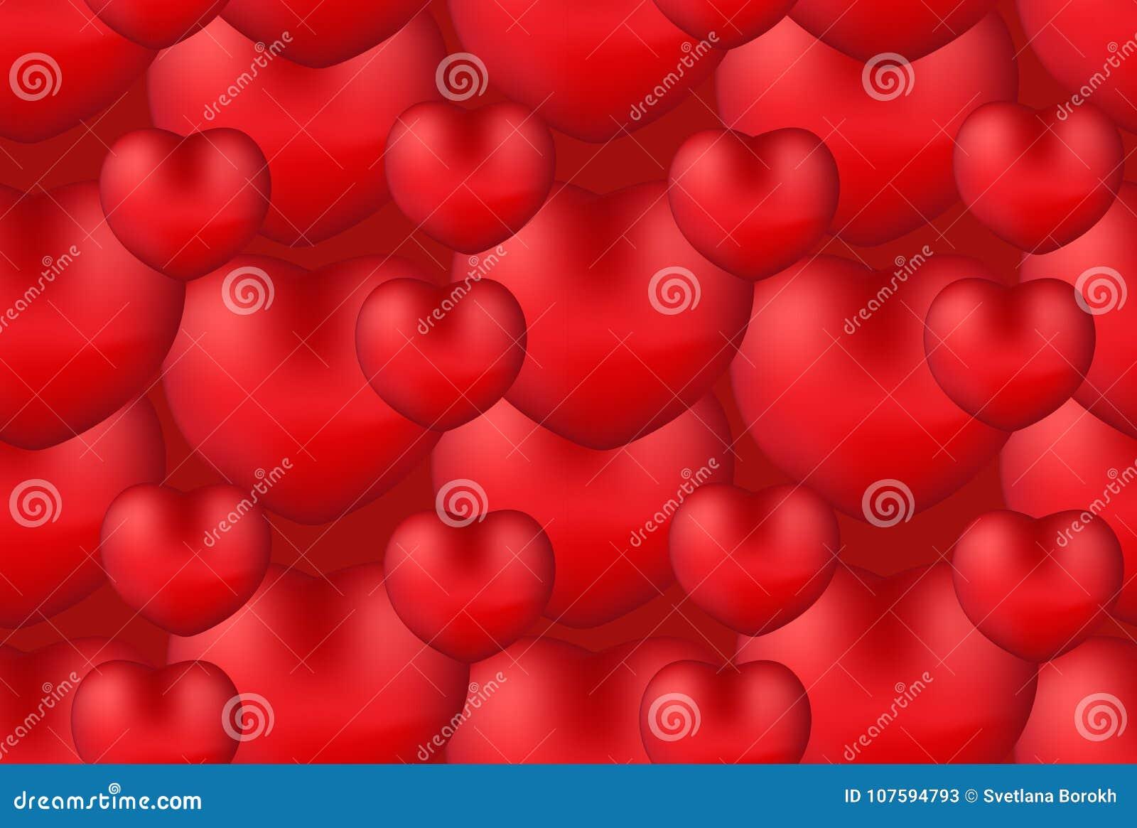 Teste padrão sem emenda do coração 3d realístico feliz do dia do ` s do Valentim Fundo vermelho do amor, romance que repete a tex