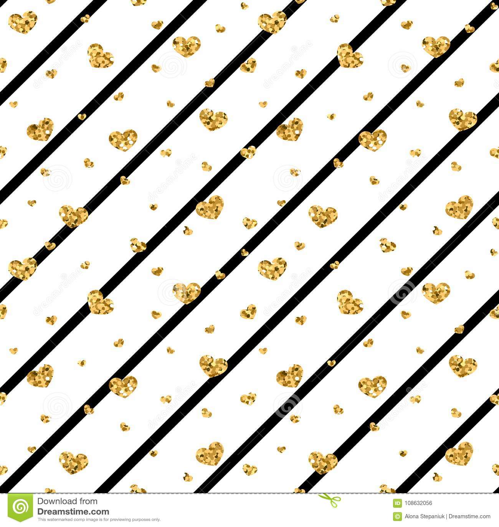 Teste padrão sem emenda do coração do ouro listras geométricas Preto-brancas, confete-corações dourados Símbolo do amor, dia de s