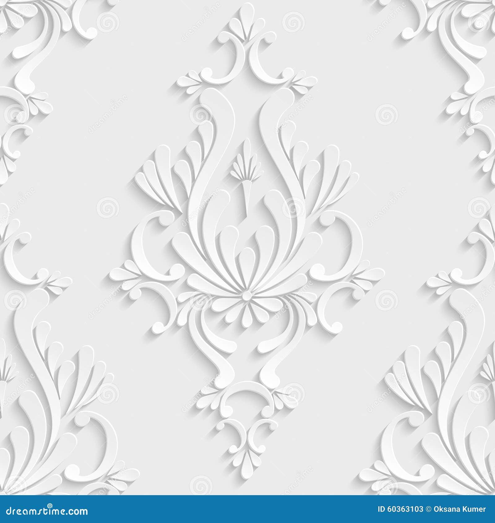 Teste padrão sem emenda do damasco 3d floral