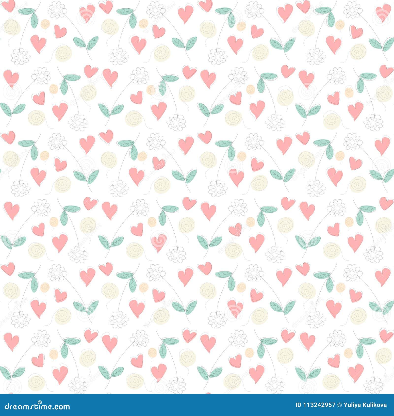 Teste padrão sem emenda do desenho floral com flores, corações e redemoinhos
