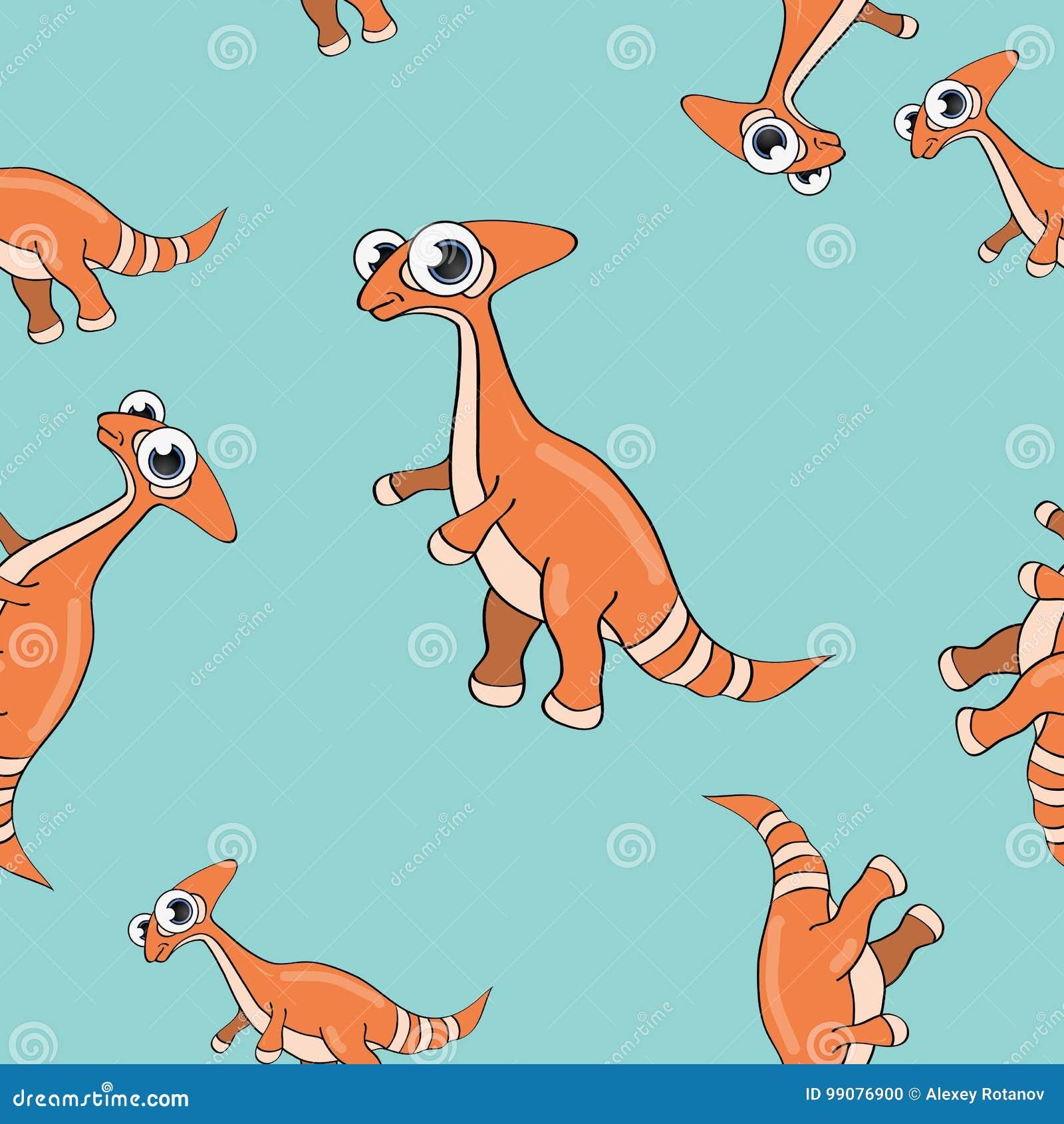 Teste padrão sem emenda do dinossauro engraçado dos desenhos animados