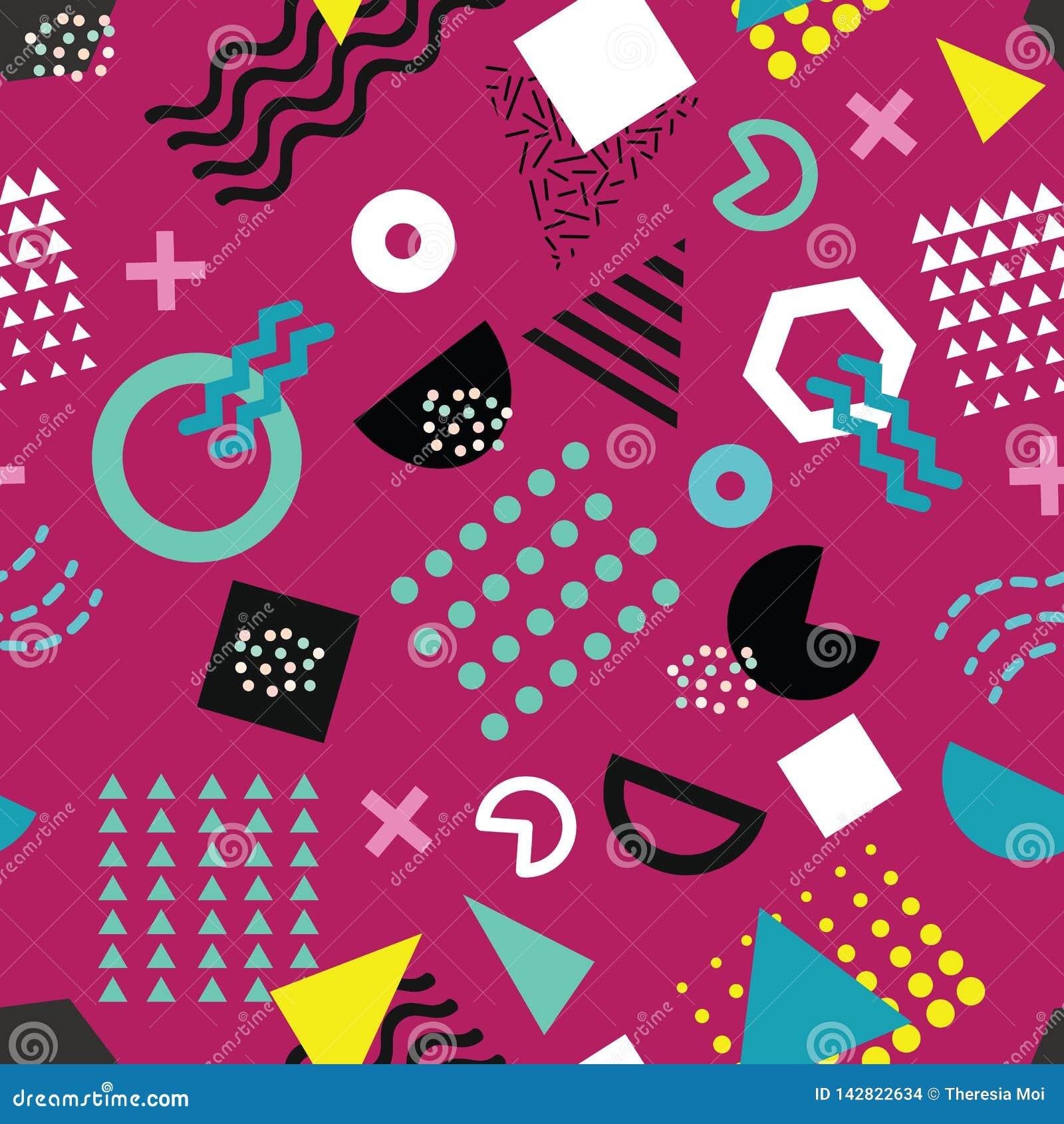 Teste padrão sem emenda do estilo na moda de Memphis com formas geométricas brincalhão no fundo roxo