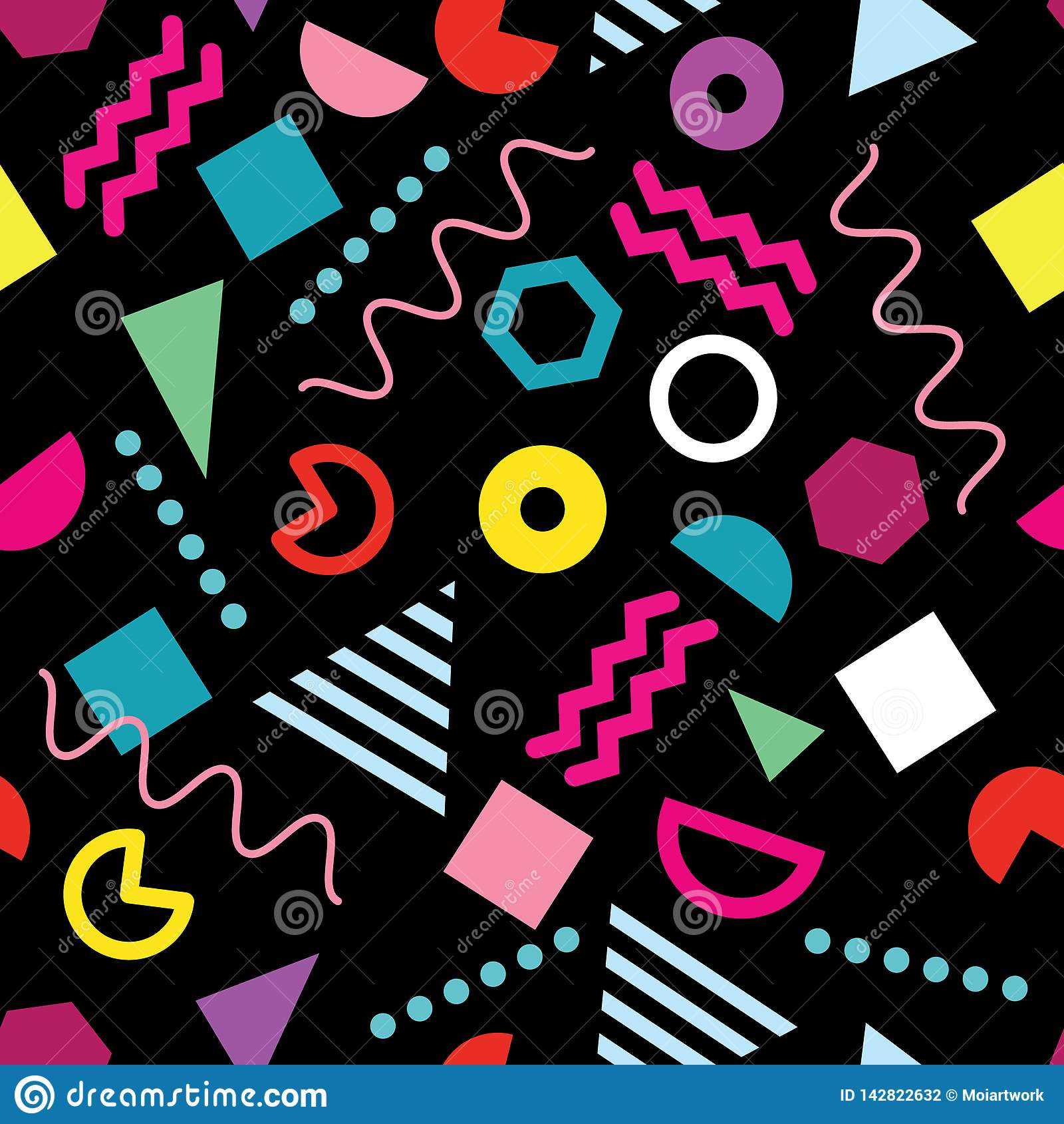 Teste padrão sem emenda do estilo na moda de Memphis com formas geométricas na moda no fundo preto