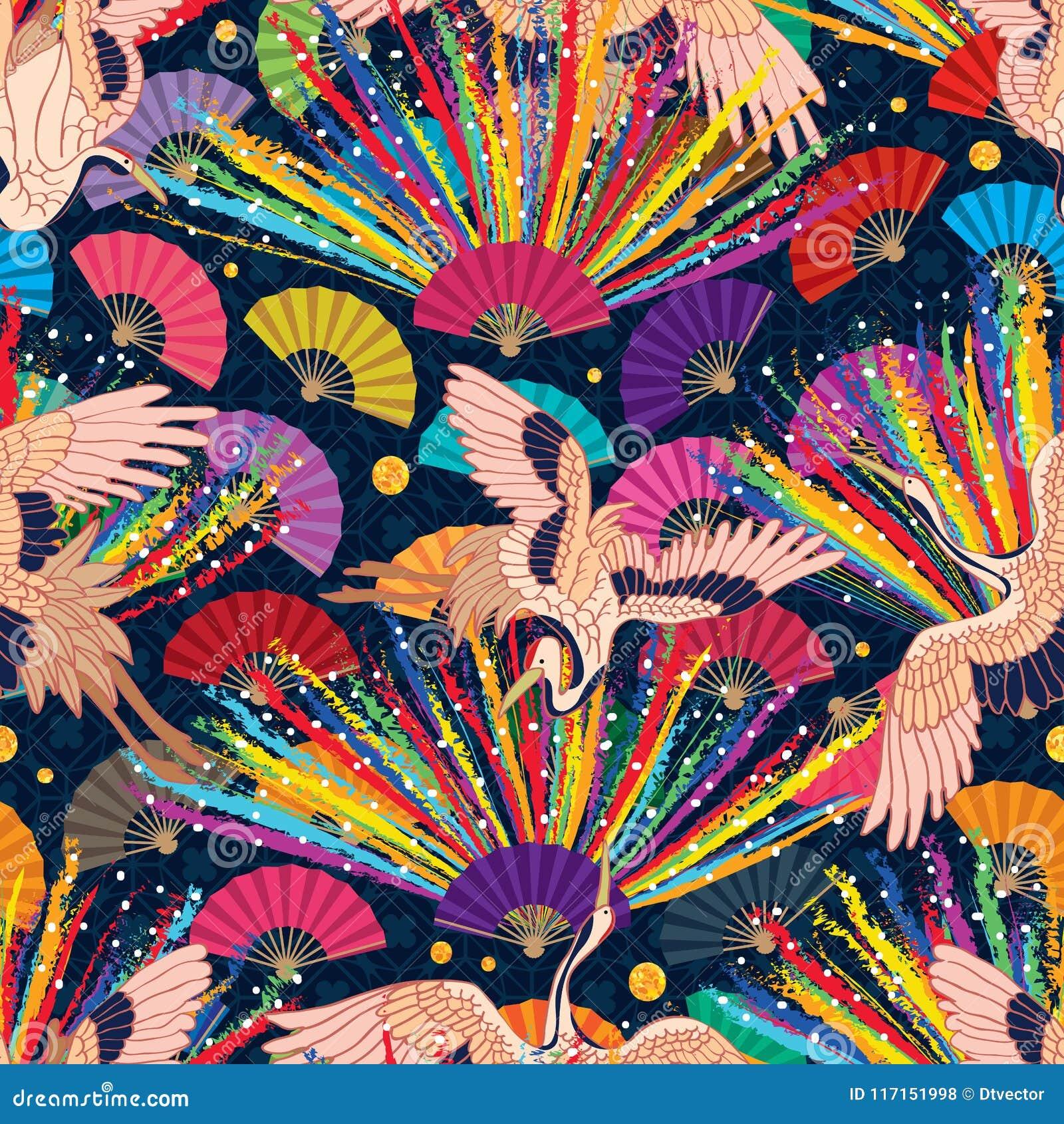 Teste padrão sem emenda do fã do guindaste de Japão do arco-íris do giz