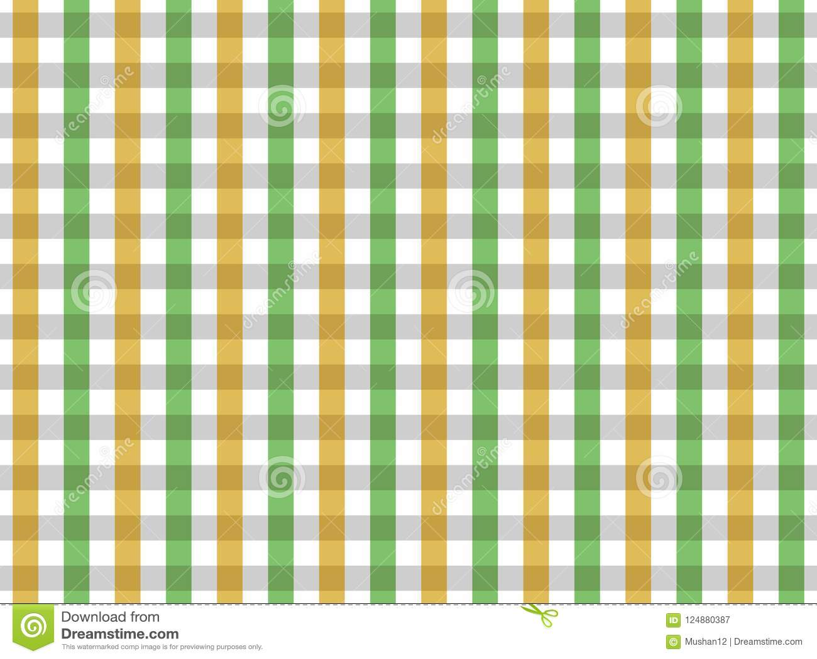 Teste padrão sem emenda do guingão da toalha de mesa verde e amarela Projeto de duas cores