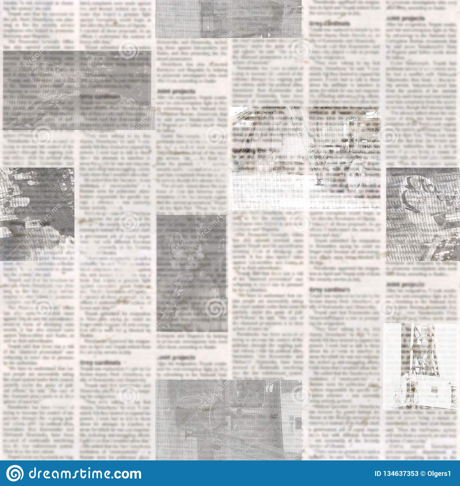 Teste padrão sem emenda do jornal com fundo de papel ilegível da textura do vintage velho
