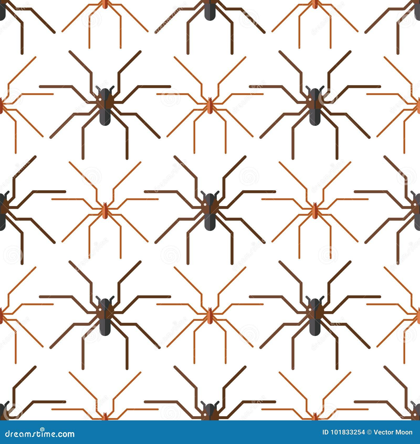 Teste padrão sem emenda do medo do aracnídeo da silhueta da Web de aranha