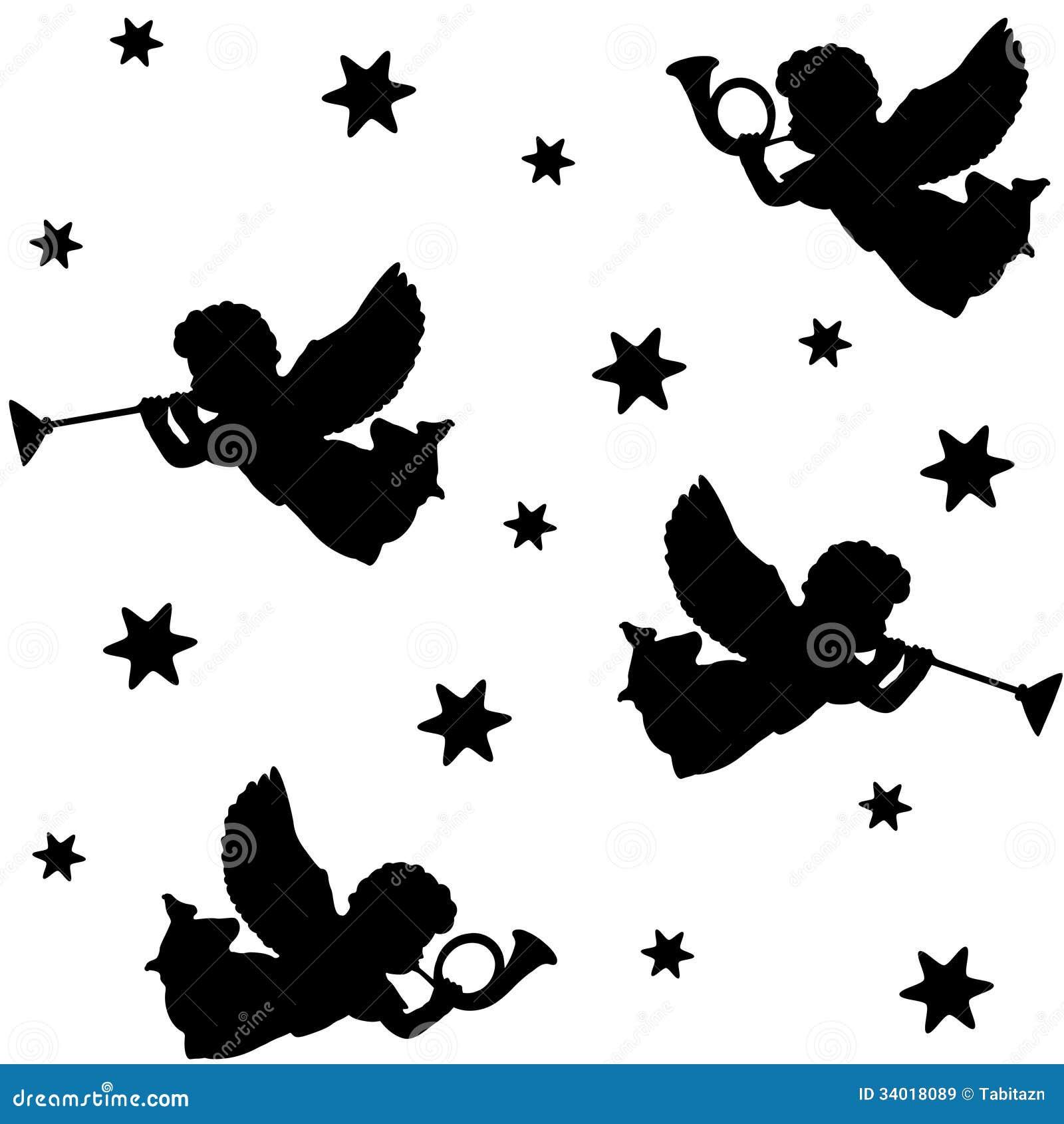 Teste Padrao Sem Emenda Do Natal Com As Silhuetas Dos Anjos Das