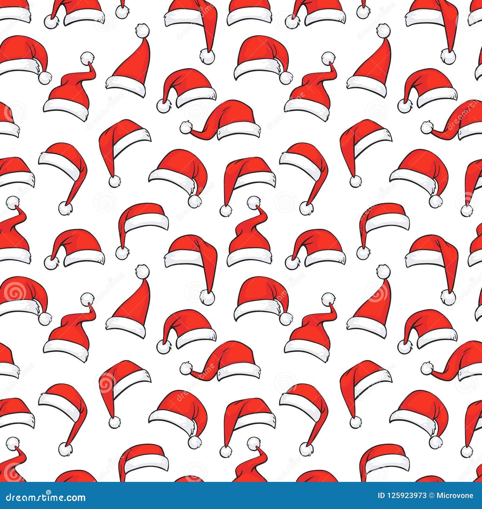 Teste padrão sem emenda do Natal com os chapéus vermelhos tirados mão de Santa