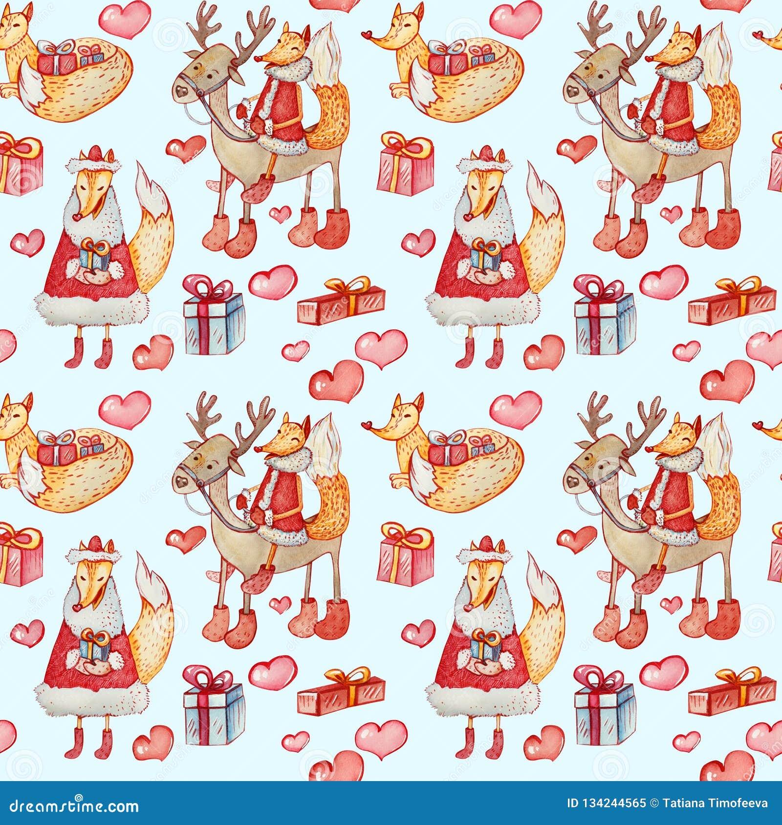Teste padrão sem emenda do Natal com raposas e renas em um fundo azul