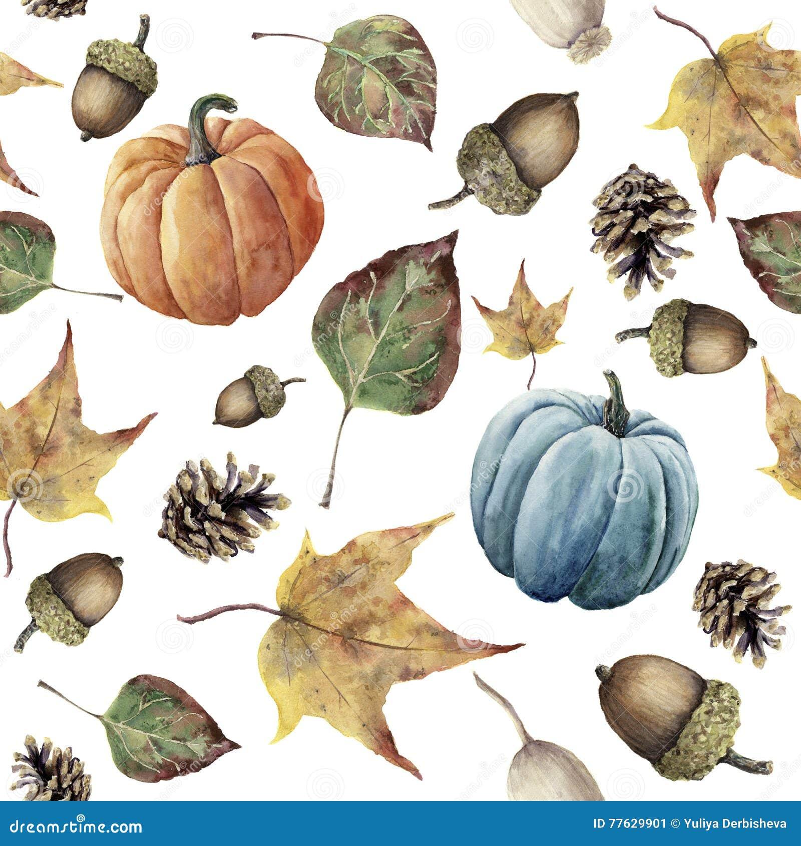 Teste padrão sem emenda do outono da aquarela As folhas e a abóbora pintados à mão da queda do cone, da bolota, da baga, do amare