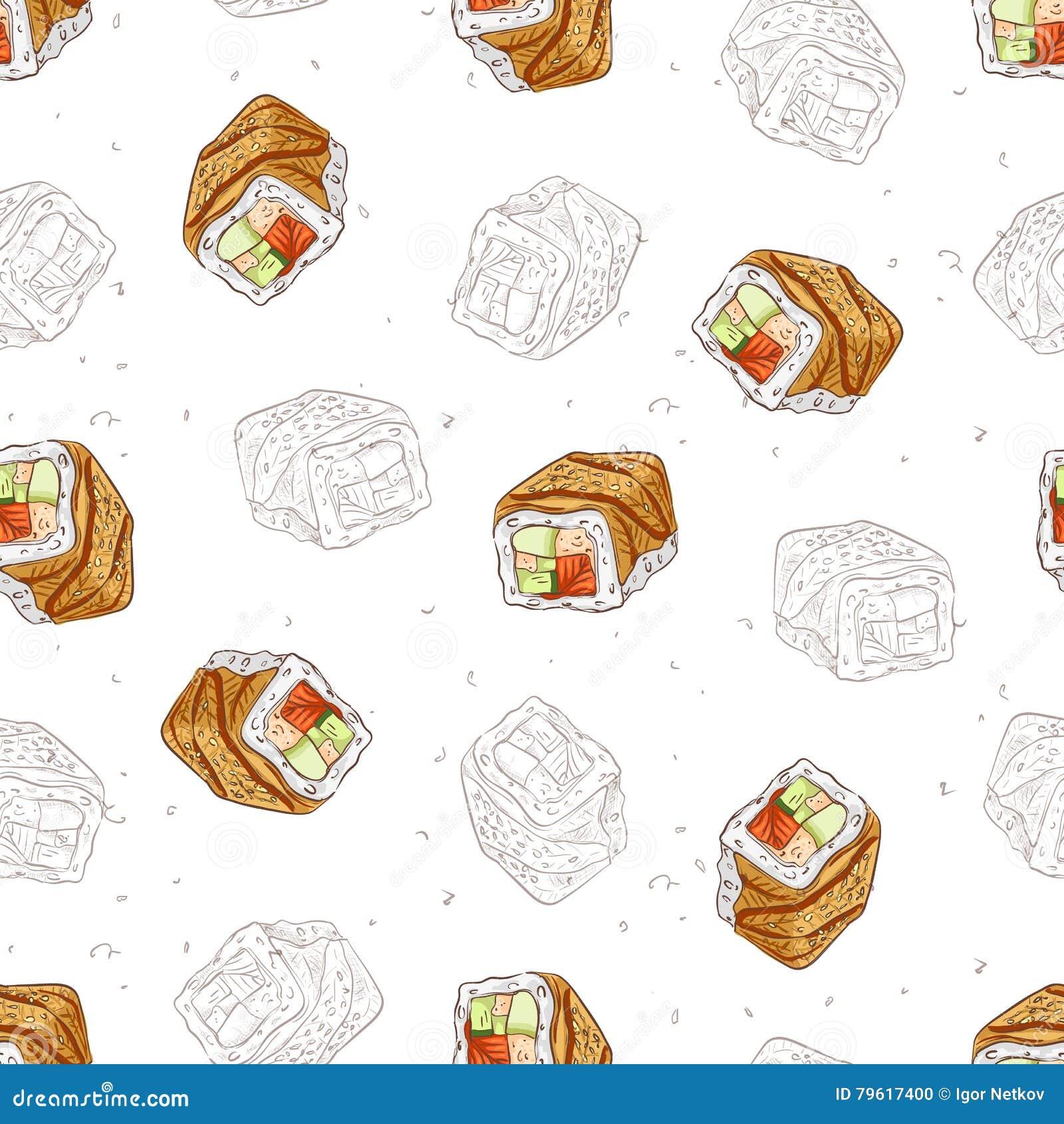 Teste padrão sem emenda do sushi