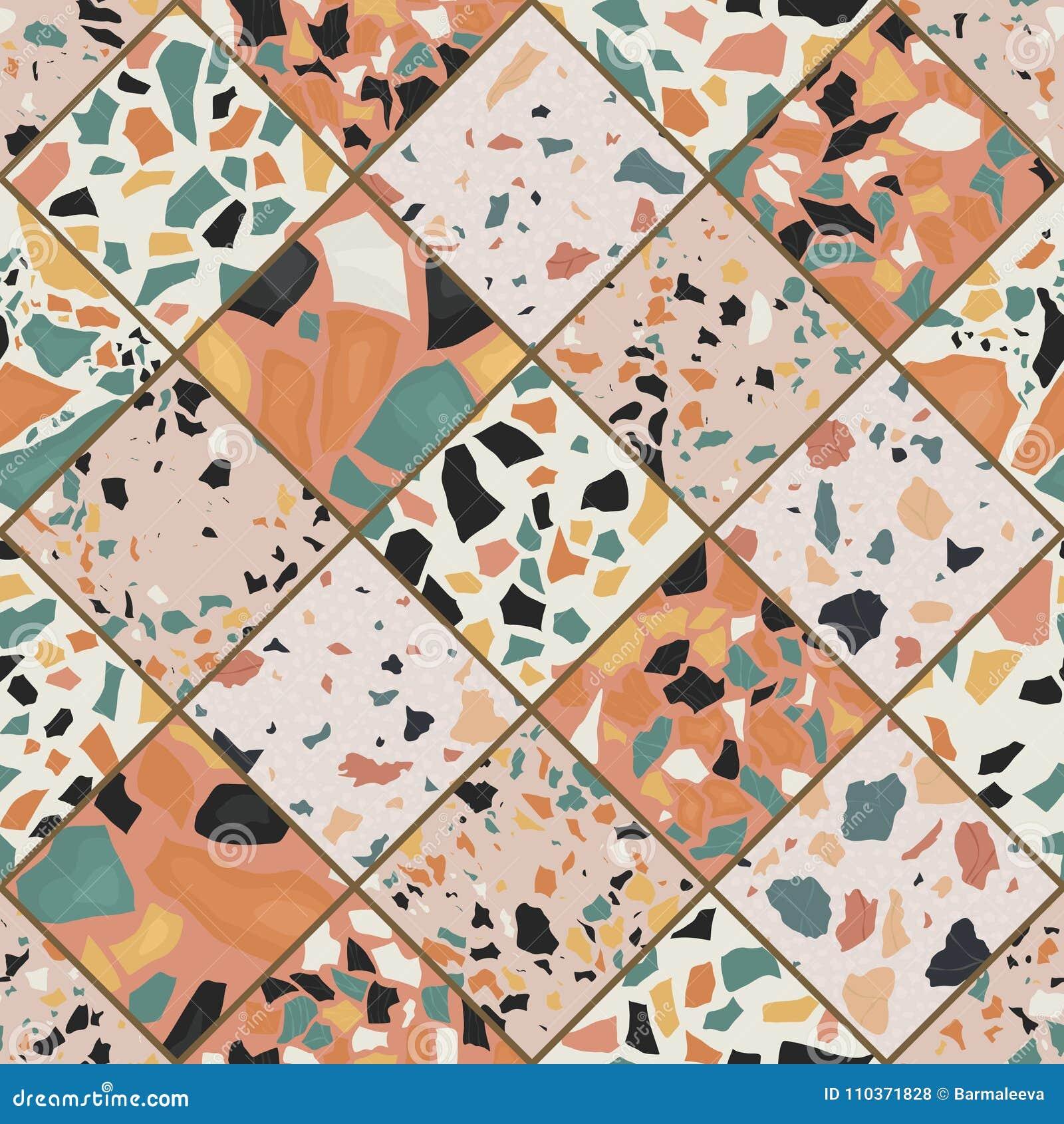 Teste padrão sem emenda do terraço Mão crafted e teste padrão original que repete o fundo Formas textured granito em vibrante
