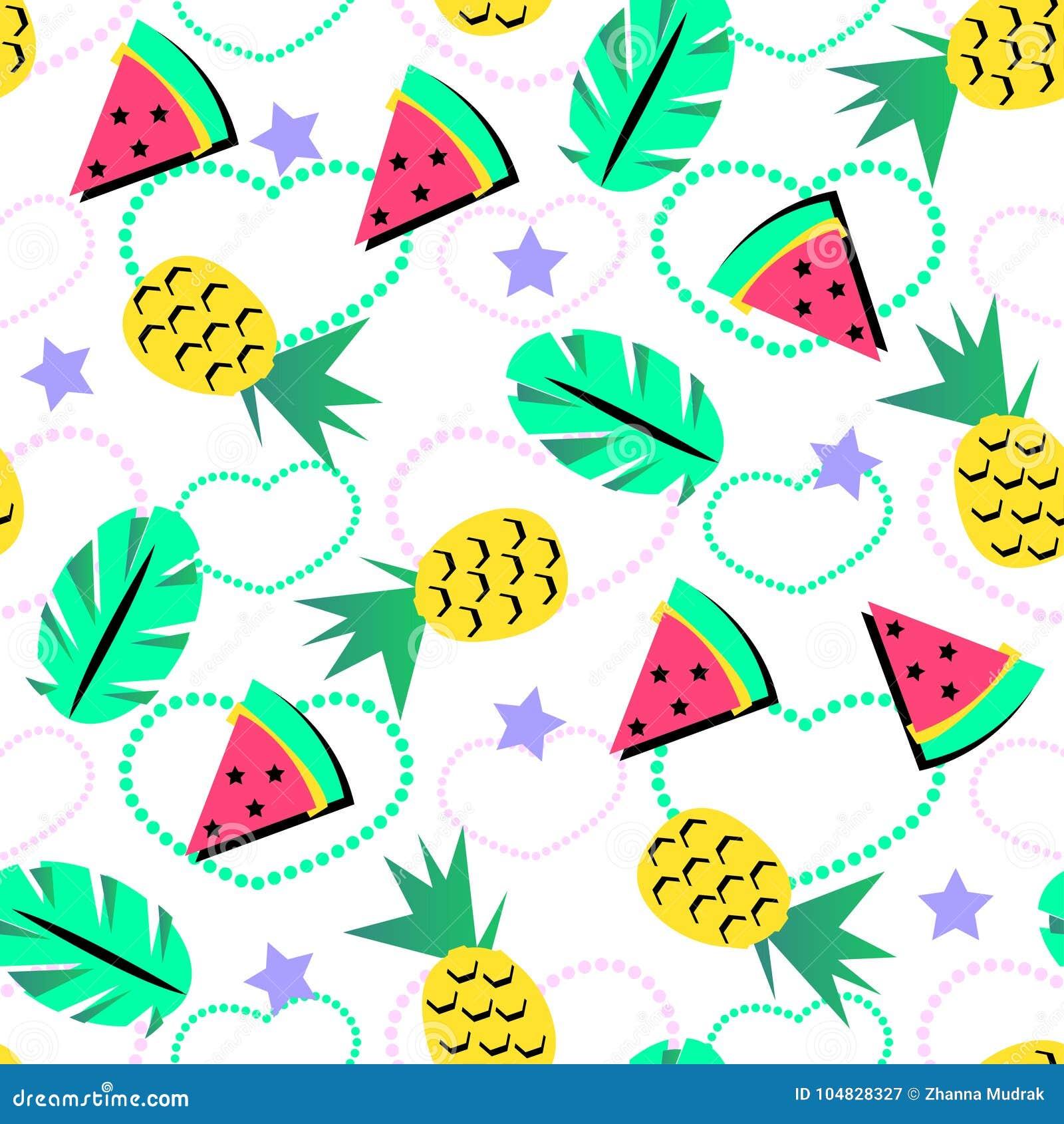 Teste padrão sem emenda do verão com o abacaxi e melancia alaranjada brilhante e elemento tropical no fundo do brith para adolesc