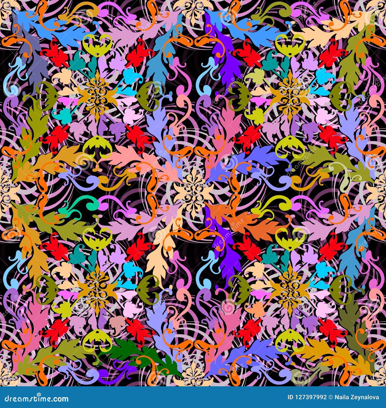 Teste padrão sem emenda do vetor barroco colorido moderno Geomet abstrato