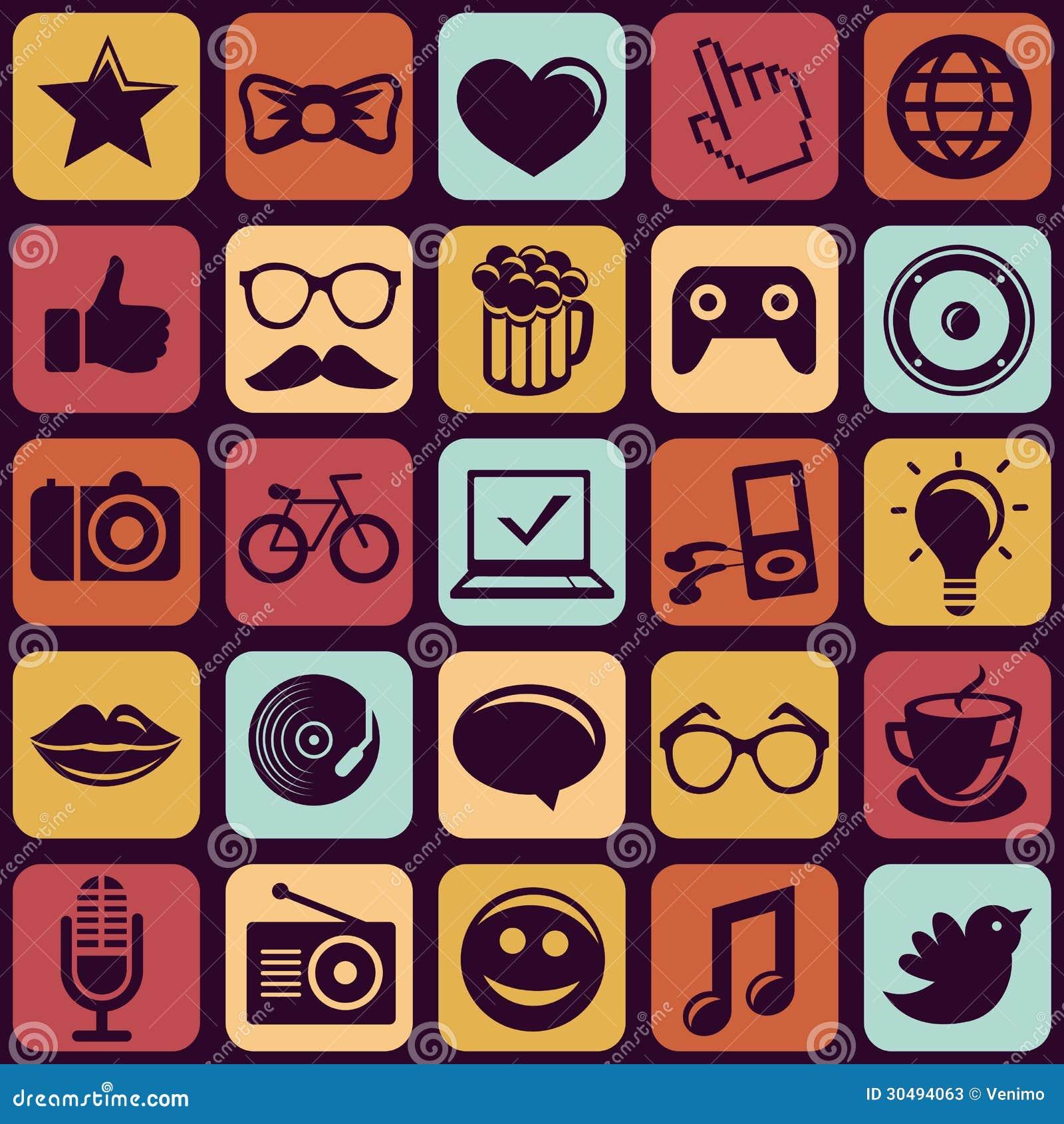 Teste padrão sem emenda do vetor com ícones na moda do moderno