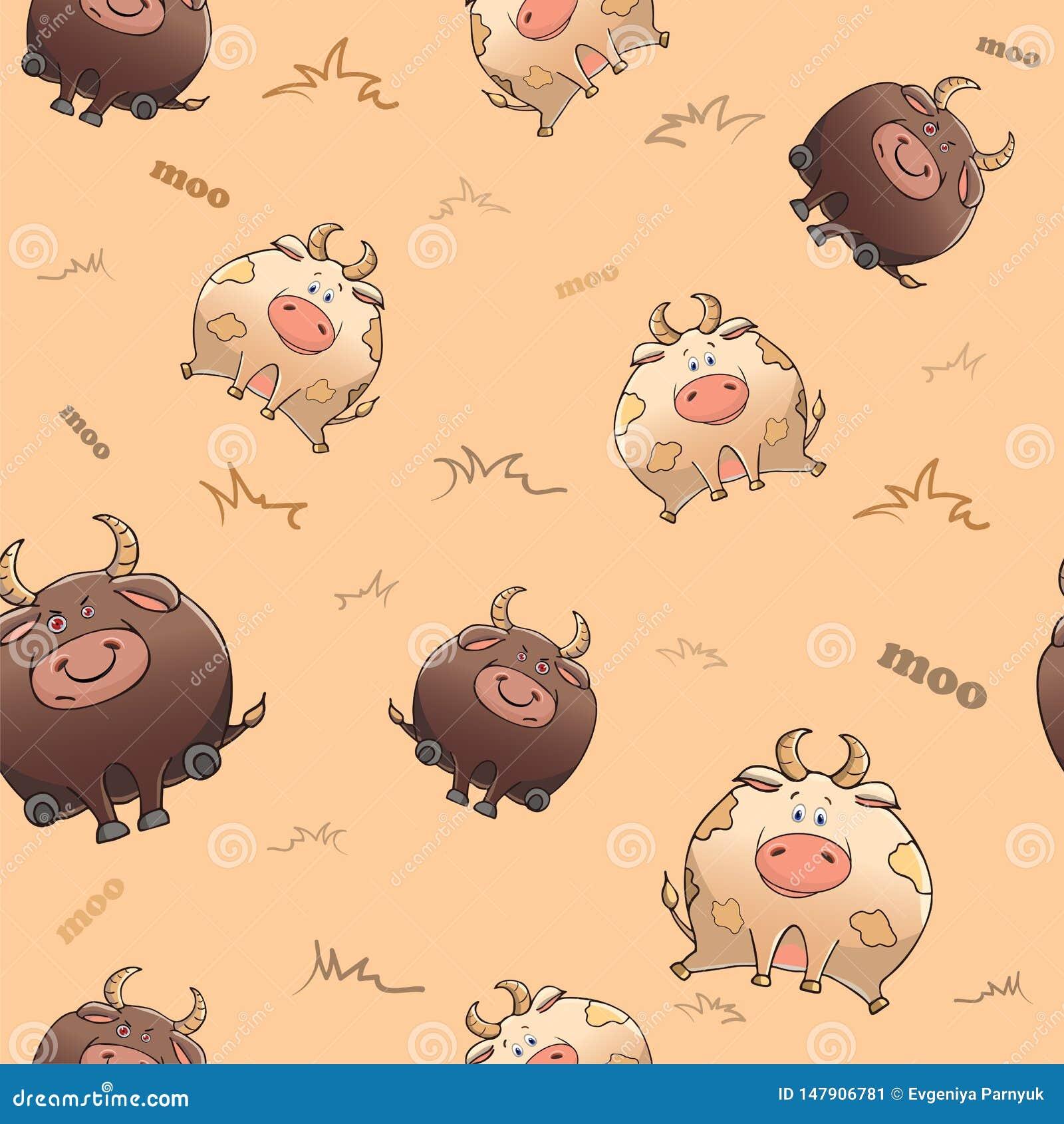 Teste padr?o sem emenda do vetor com animal engra?ado Vaca gorda bonito e touro severo Animais de divertimento grossos Textura no