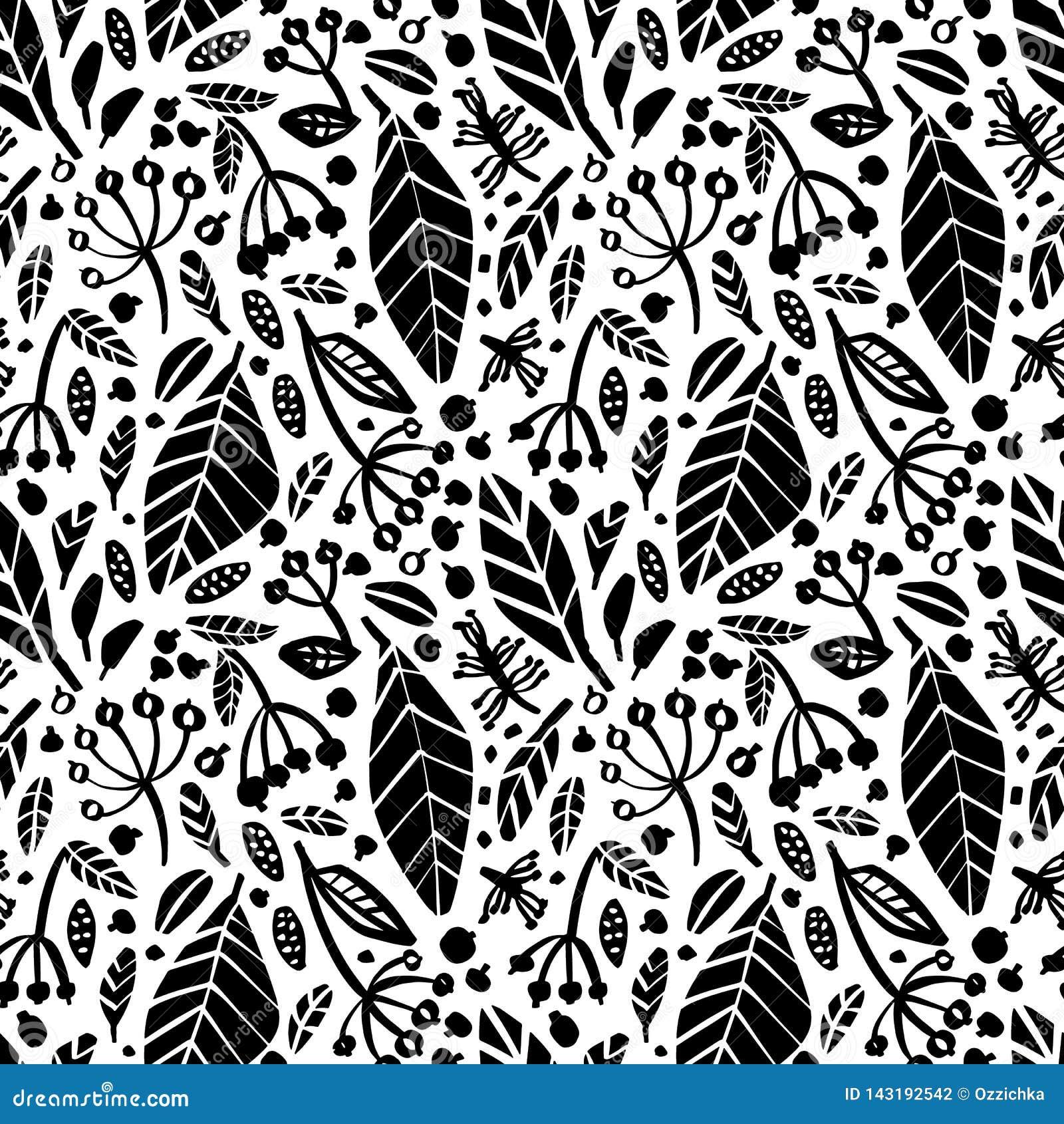 Teste padrão sem emenda do vetor com as ervas de tiragem da tinta, flores, ilustração botânica artística monocromática botanical