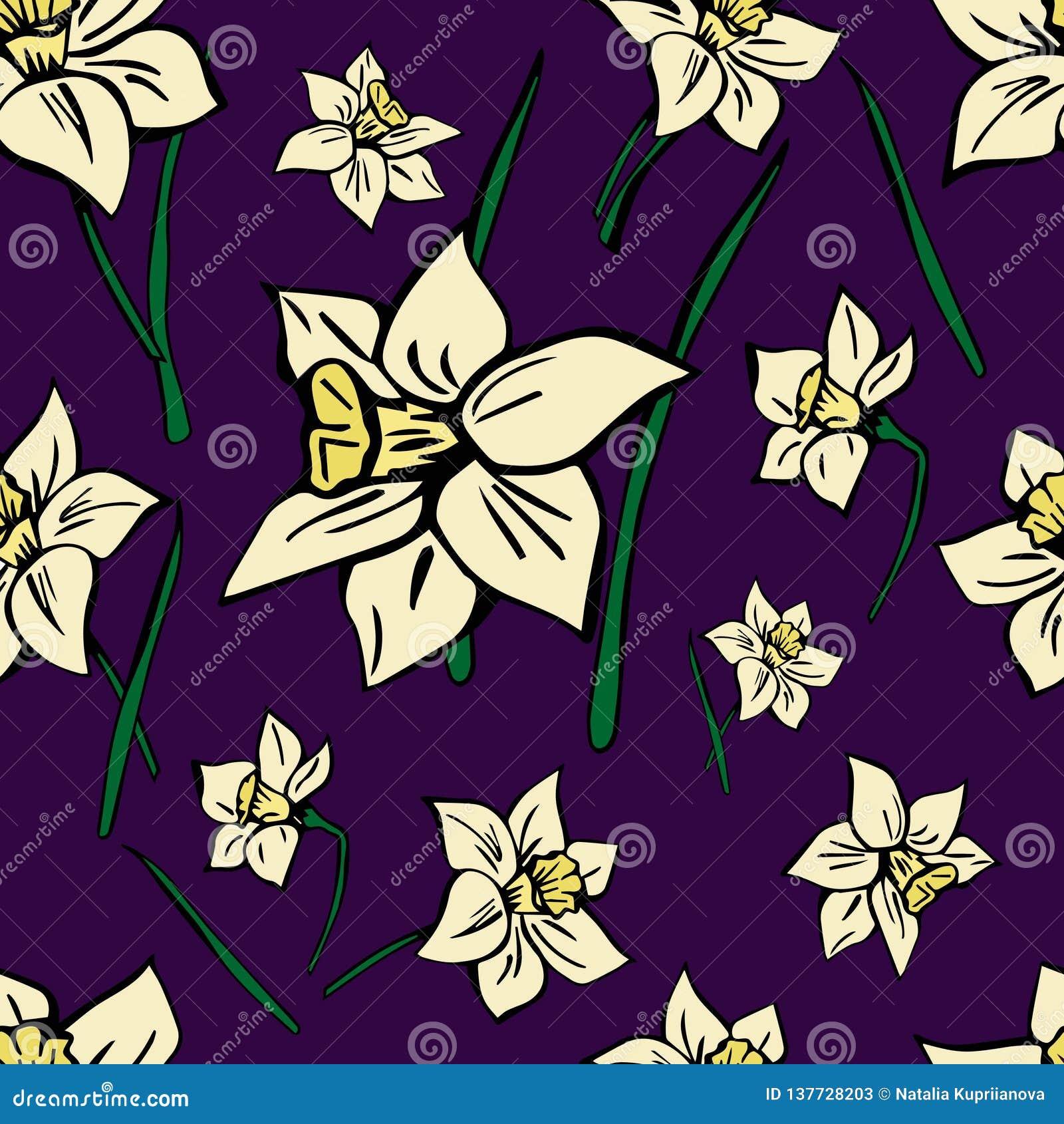 Teste padrão sem emenda do vetor com as flores amarelas da mola