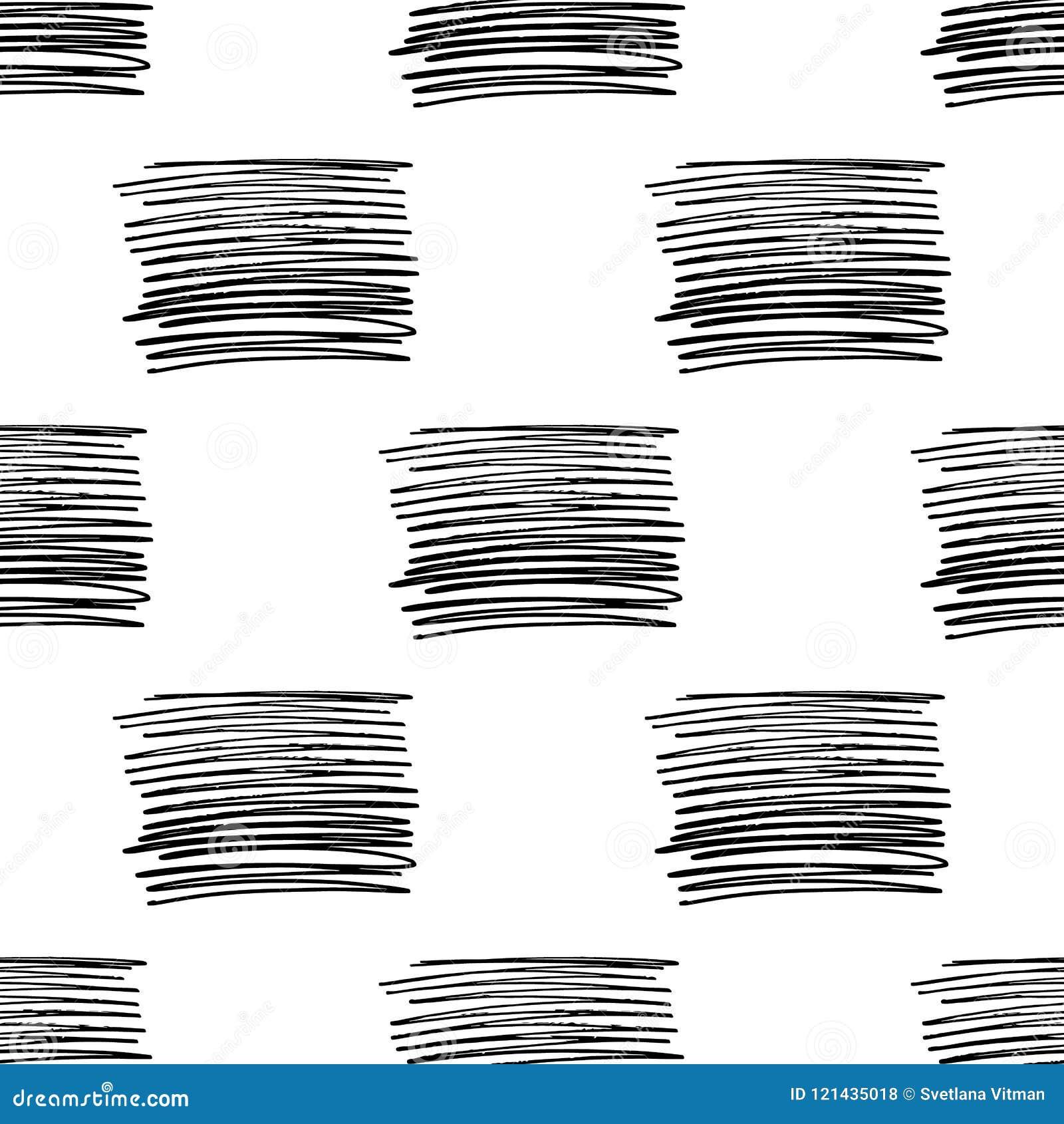 Teste padrão sem emenda do vetor com listras da escova Cor preta no fundo branco Linha pintado à mão textura da granja tinta