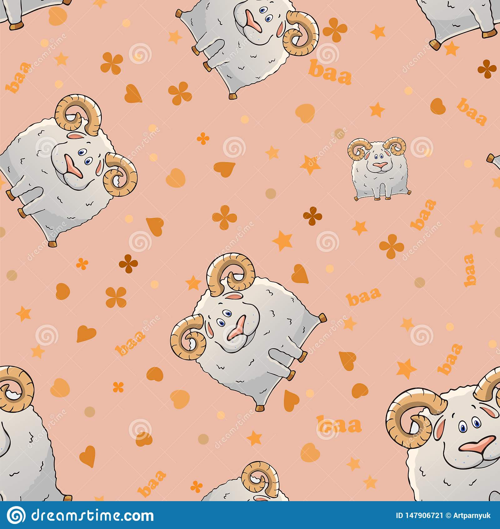 Teste padr?o sem emenda do vetor com os carneiros horned dos desenhos animados bonitos Animais engra?ados Textura em um fundo cor
