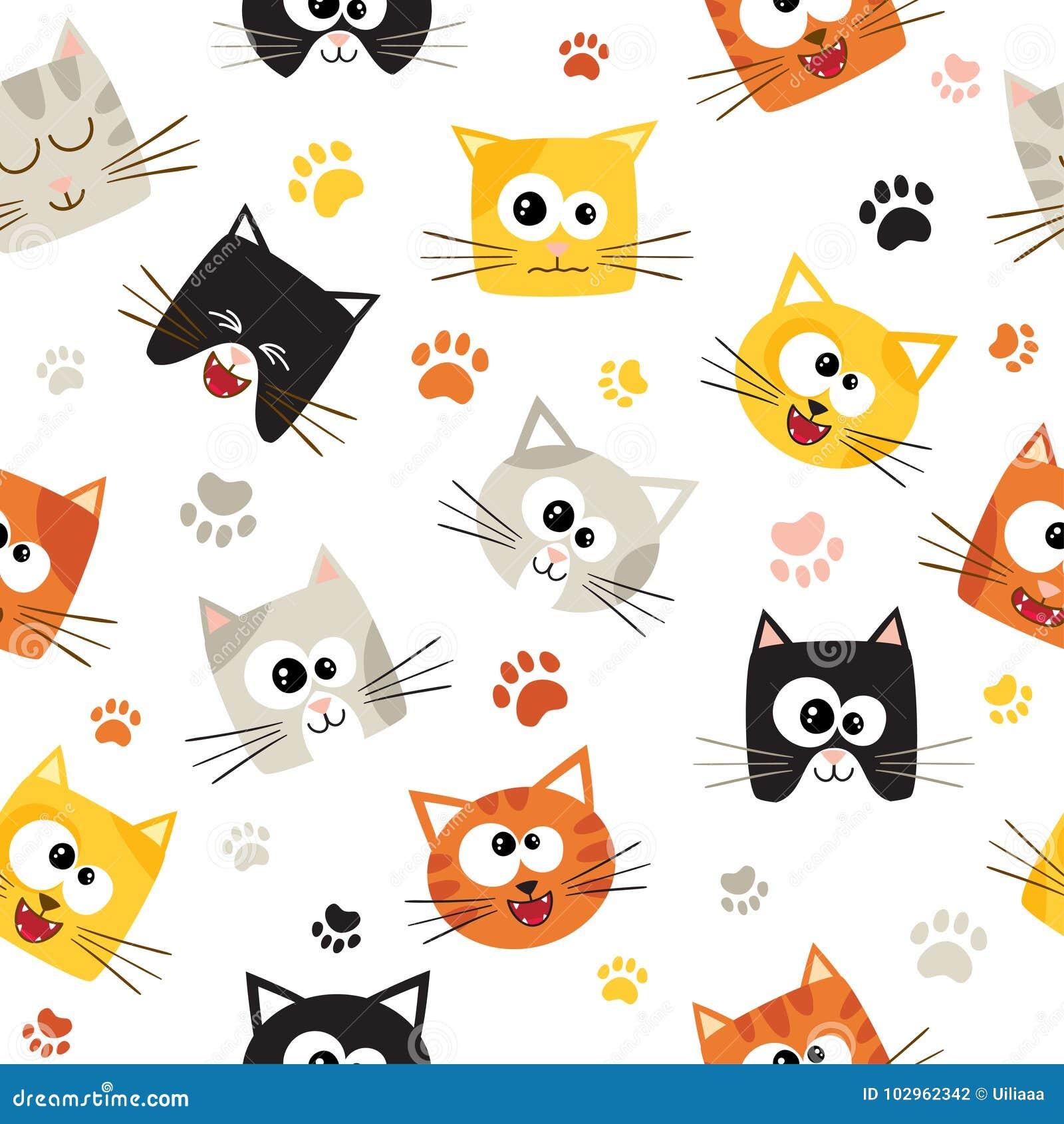 Teste Padrao Sem Emenda Do Vetor Com Os Gatos Bonitos Dos Desenhos
