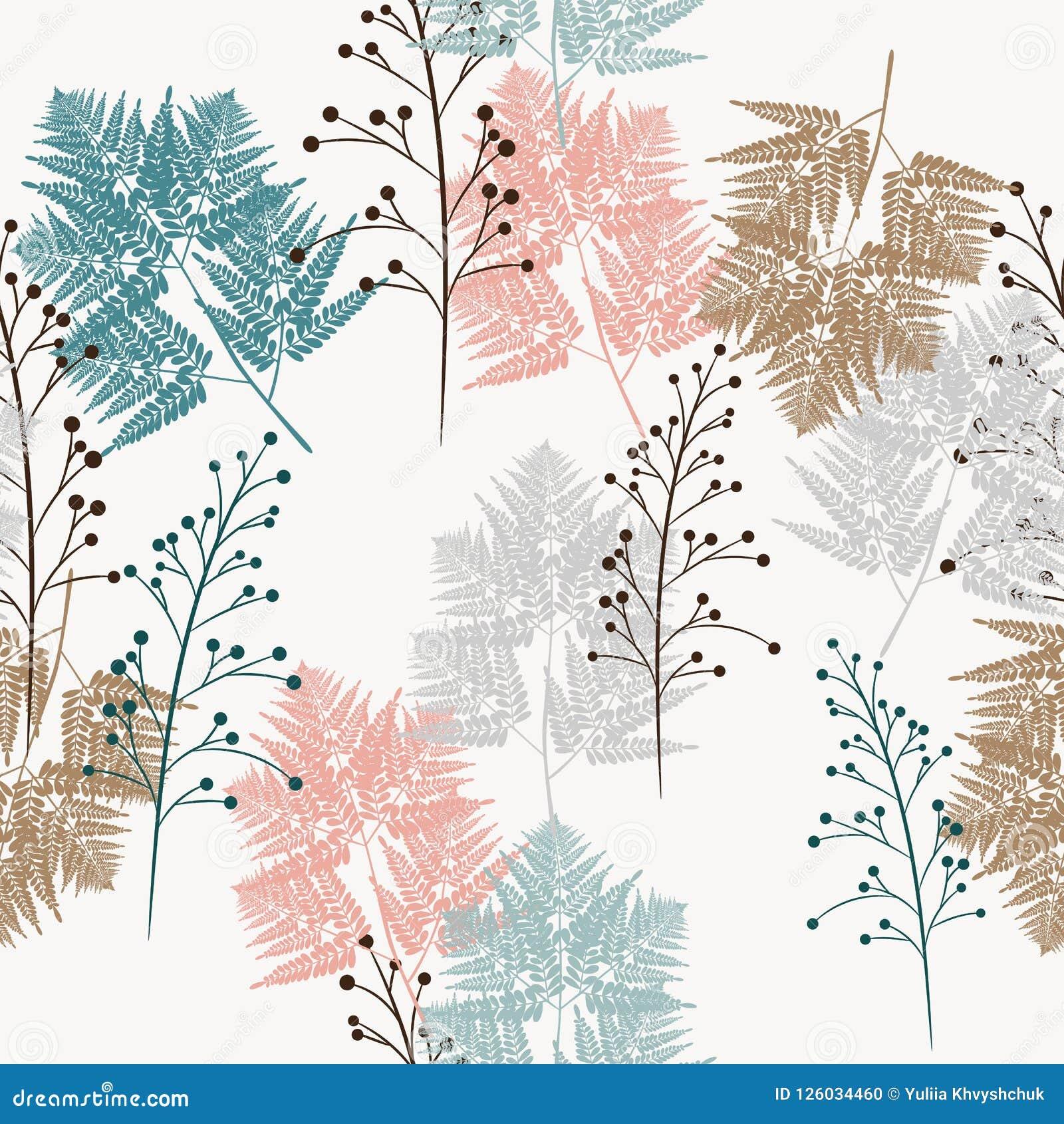 Teste padrão sem emenda do vetor das ervas e a samambaia, para a tela, o papel e a outra impressão e projetos da Web