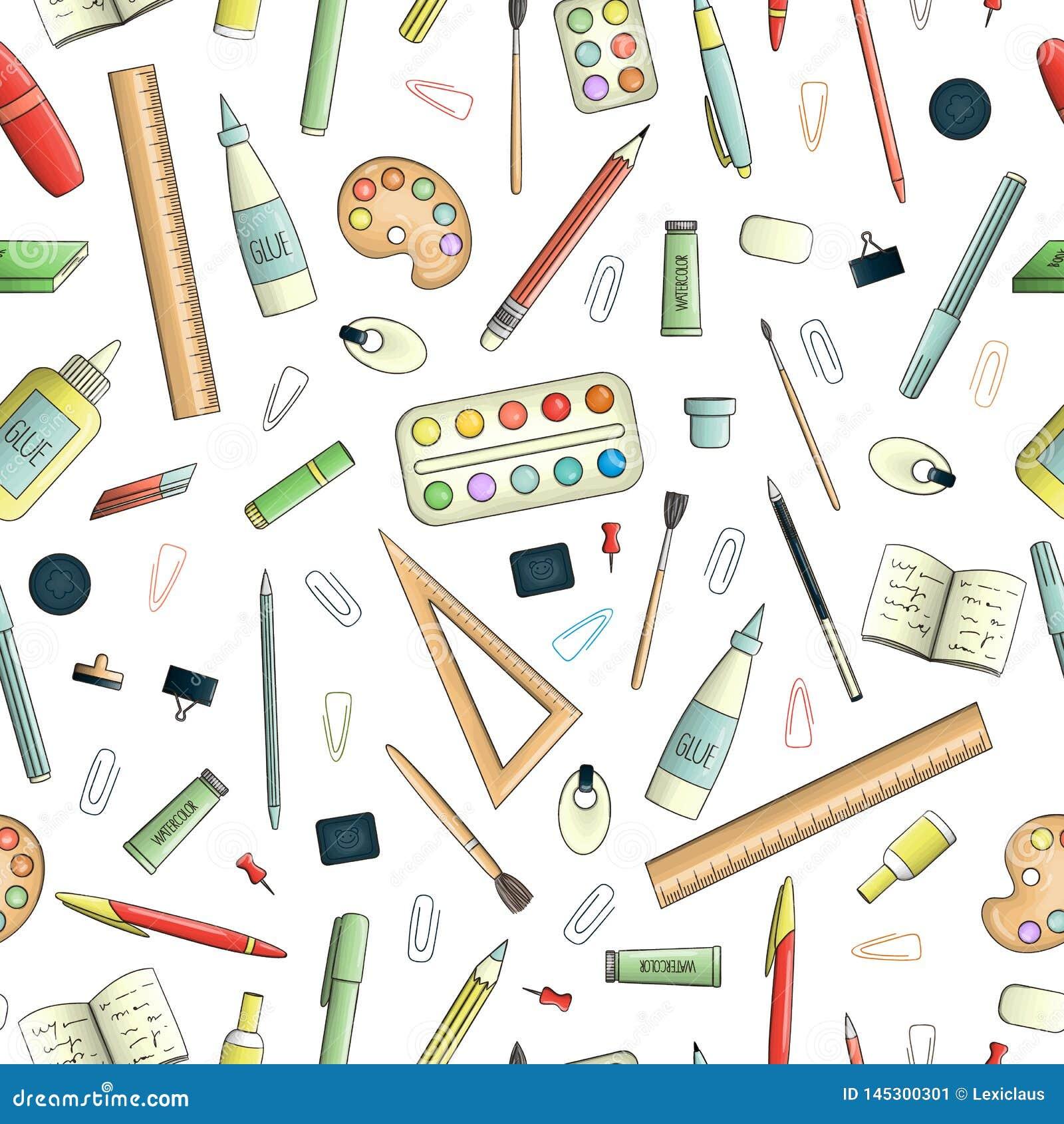 Teste padrão sem emenda do vetor de artigos de papelaria coloridos