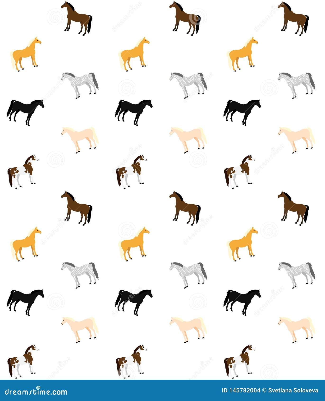 Teste padrão sem emenda do vetor de cavalos lisos dos desenhos animados se cores diferentes no fundo branco