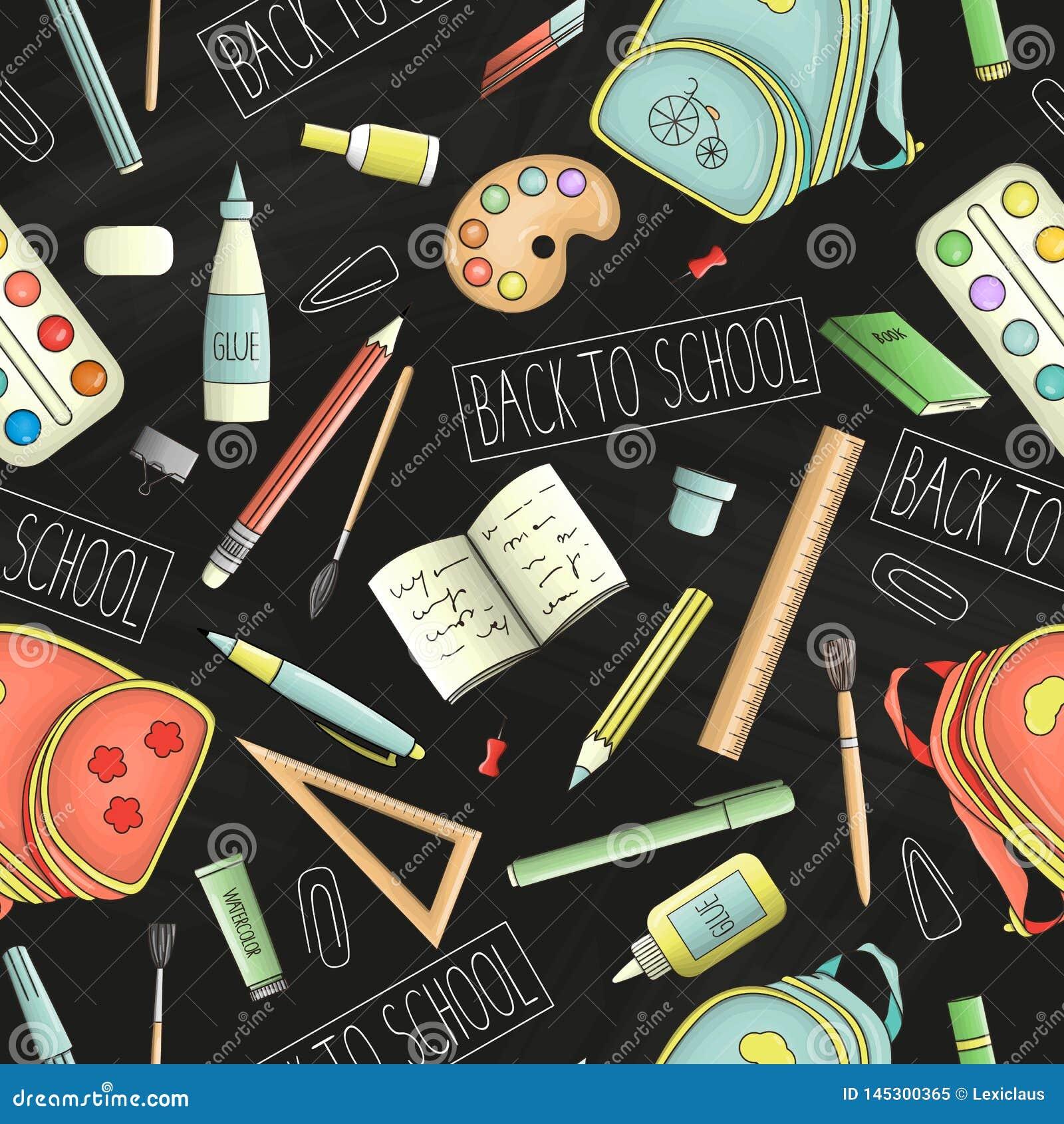 Teste padrão sem emenda do vetor de fontes coloridas dos artigos de papelaria, do escritório ou de escola no fundo do quadro De