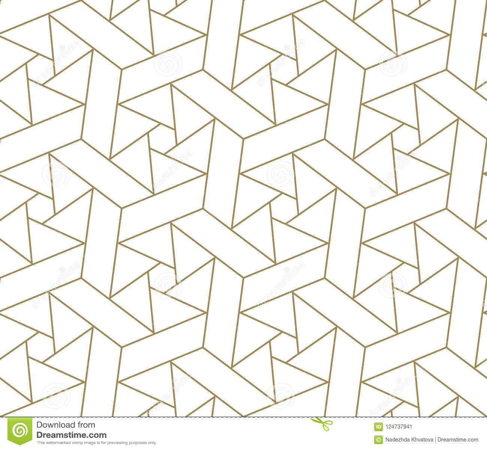 Teste padrão sem emenda do vetor geométrico simples moderno com linha textura do ouro no fundo branco Papel de parede abstrato cl