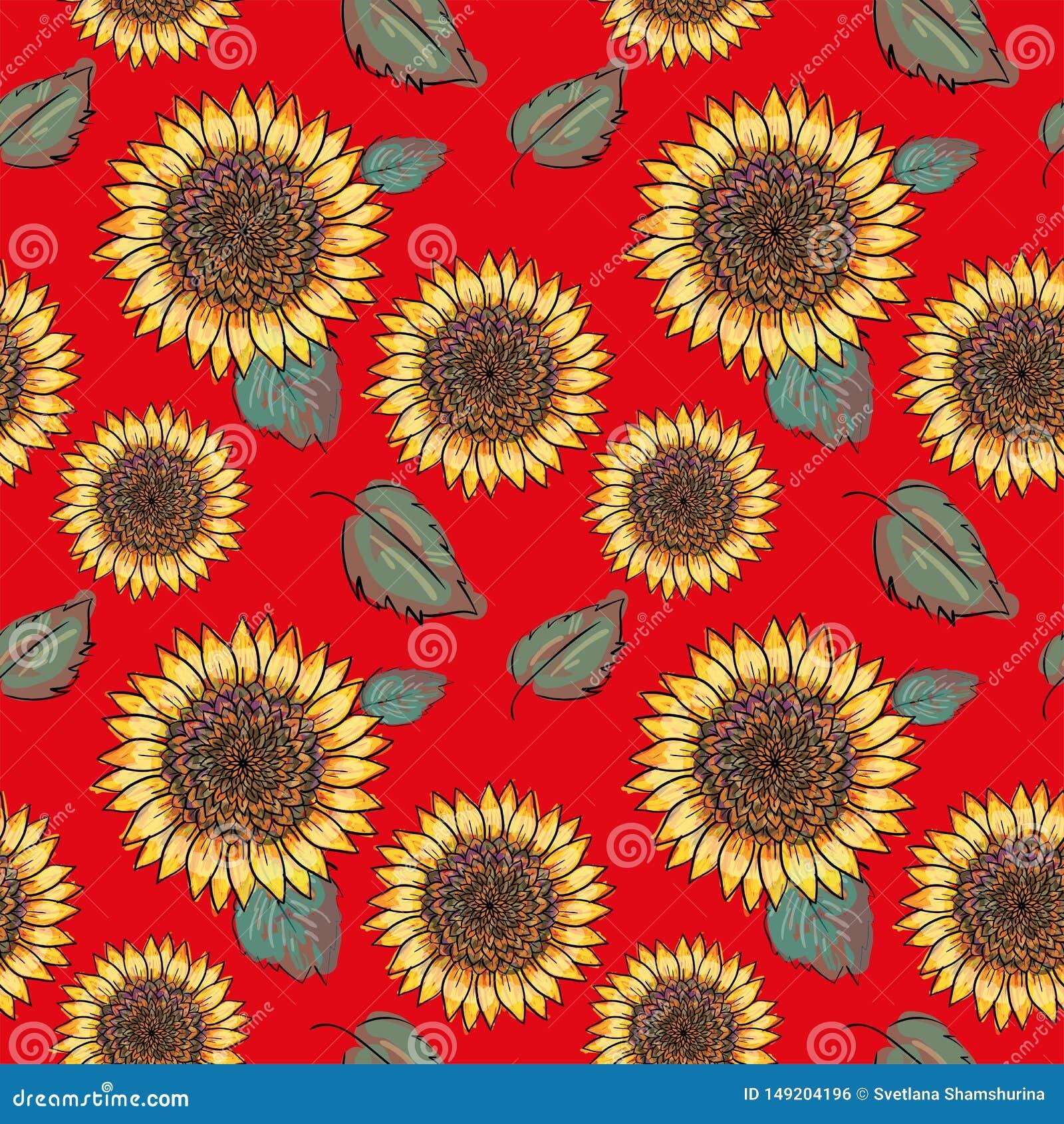 Teste padrão sem emenda do vetor do girassol com folhas verdes, imitando a tinta e a aquarela no fundo vermelho Cabeças de flor d
