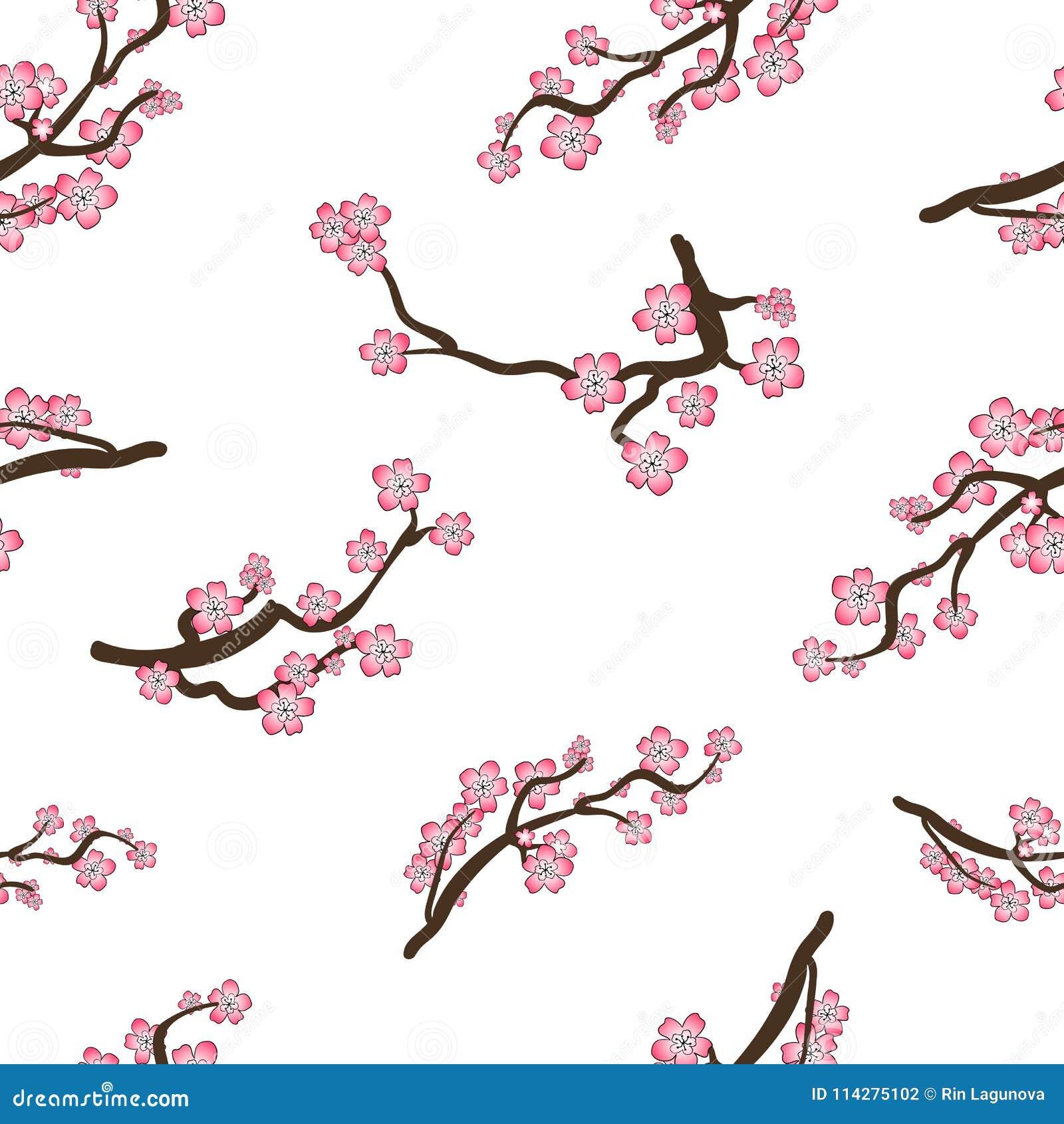 Teste padrão sem emenda do VETOR, Sakura Doodle Cartoon Branches, Cherry Blossom Oriental Background