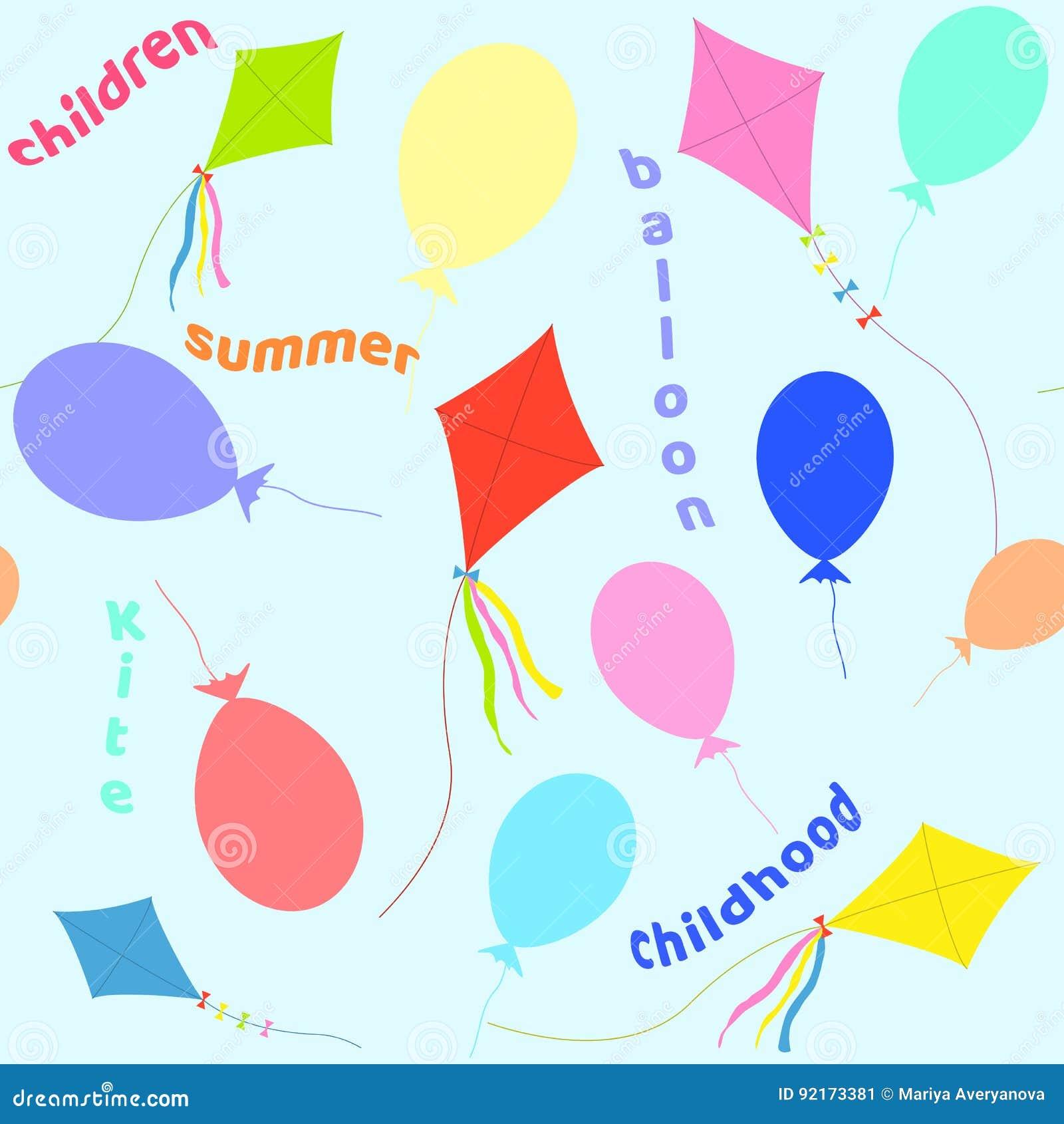 Teste padrão sem emenda dos balões e de um papagaio Ilustração do vetor