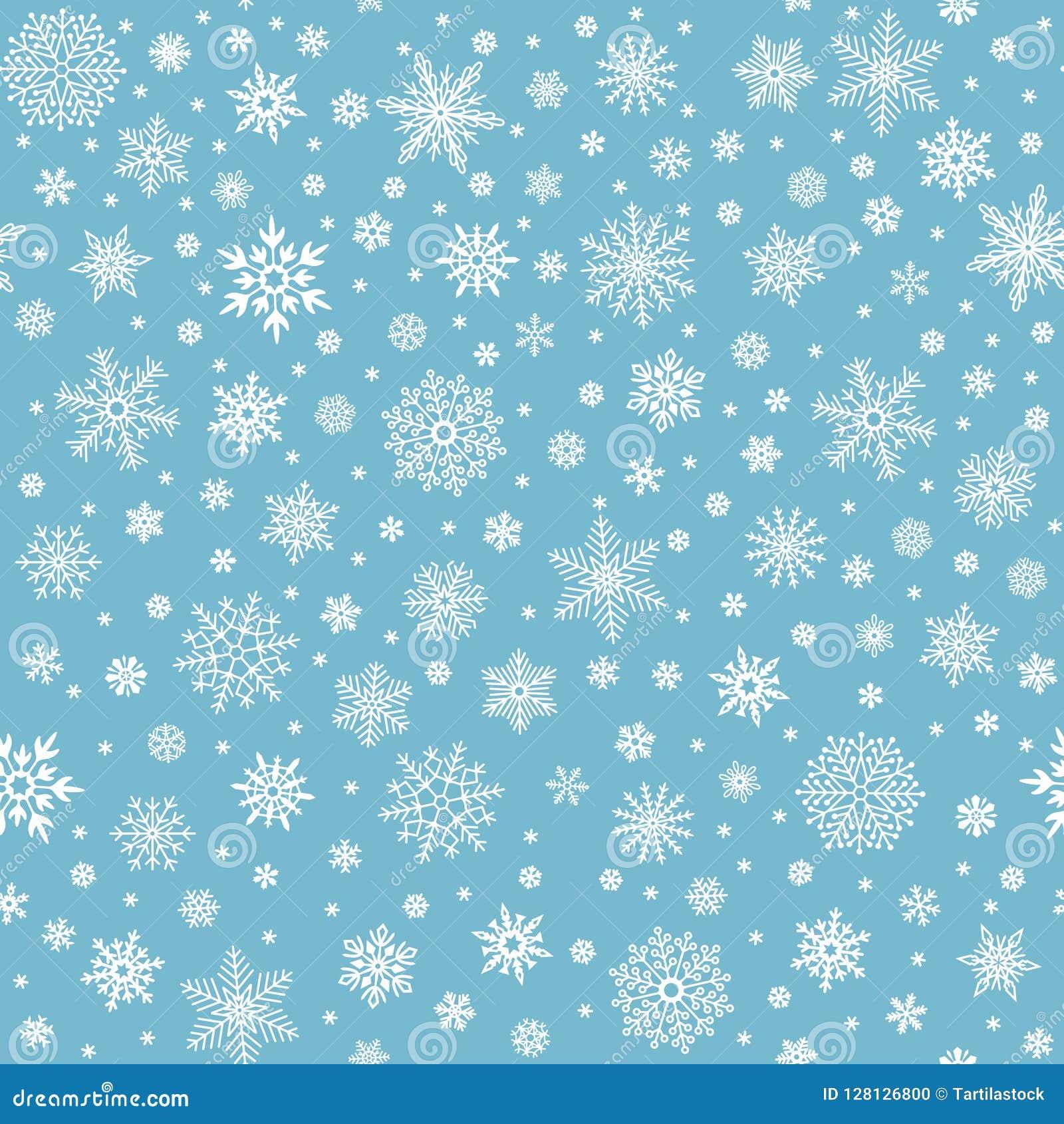 Teste padrão sem emenda dos flocos de neve As estrelas do floco da neve do inverno, caindo lascam-se neves e fundo nevado do veto