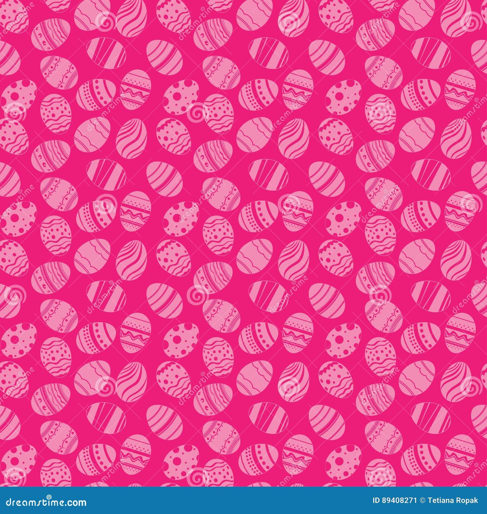Teste padrão sem emenda dos ornamento dos ovos da páscoa Fundo do rosa do feriado da Páscoa para imprimir na tela, papel para scr