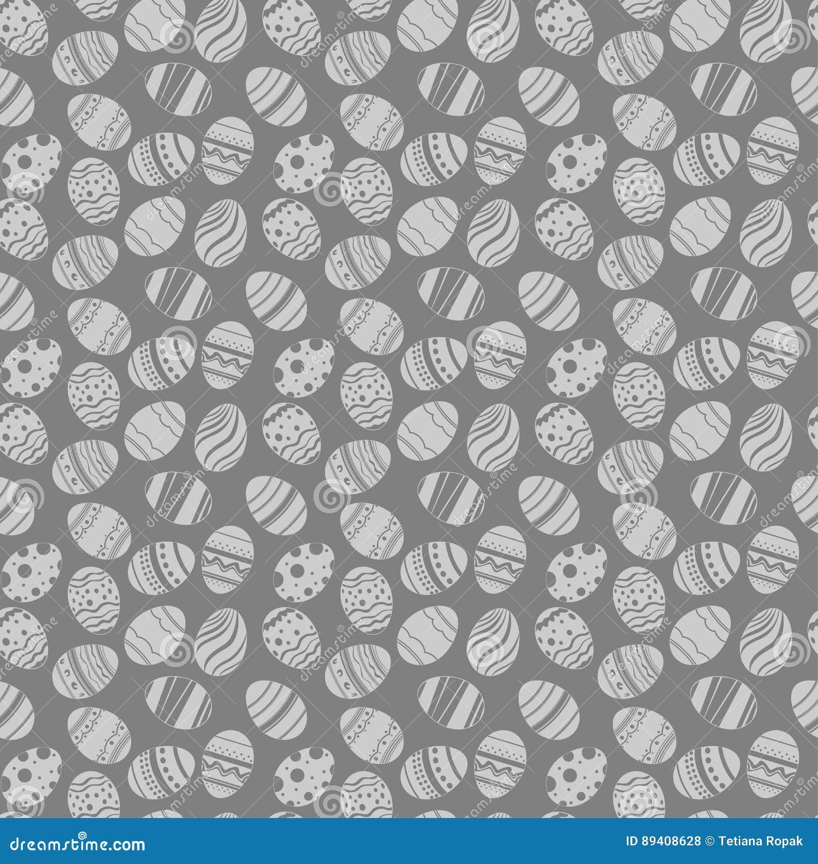 Teste padrão sem emenda dos ornamento dos ovos da páscoa Fundo grauy e branco do feriado da Páscoa para imprimir na tela, papel p