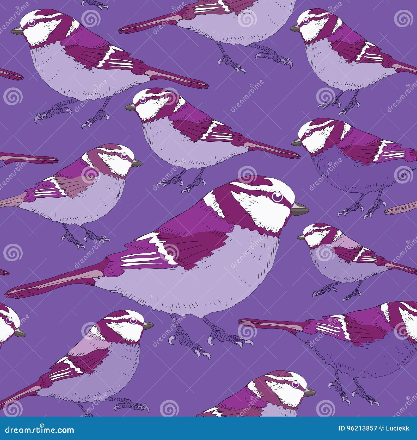 Teste padrão sem emenda dos pássaros violetas Ilustração do vetor no fundo do lila