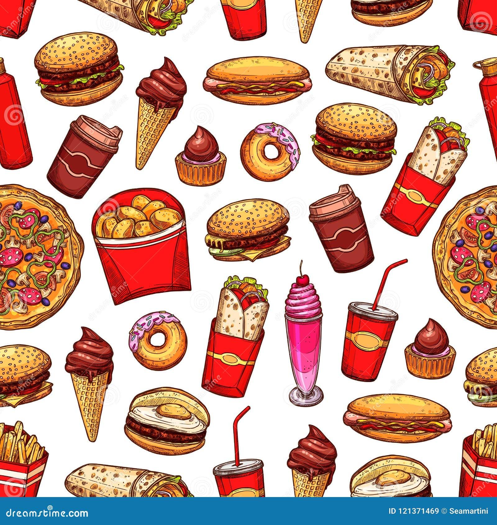 Teste padrão sem emenda dos petiscos e das sobremesas do fast food