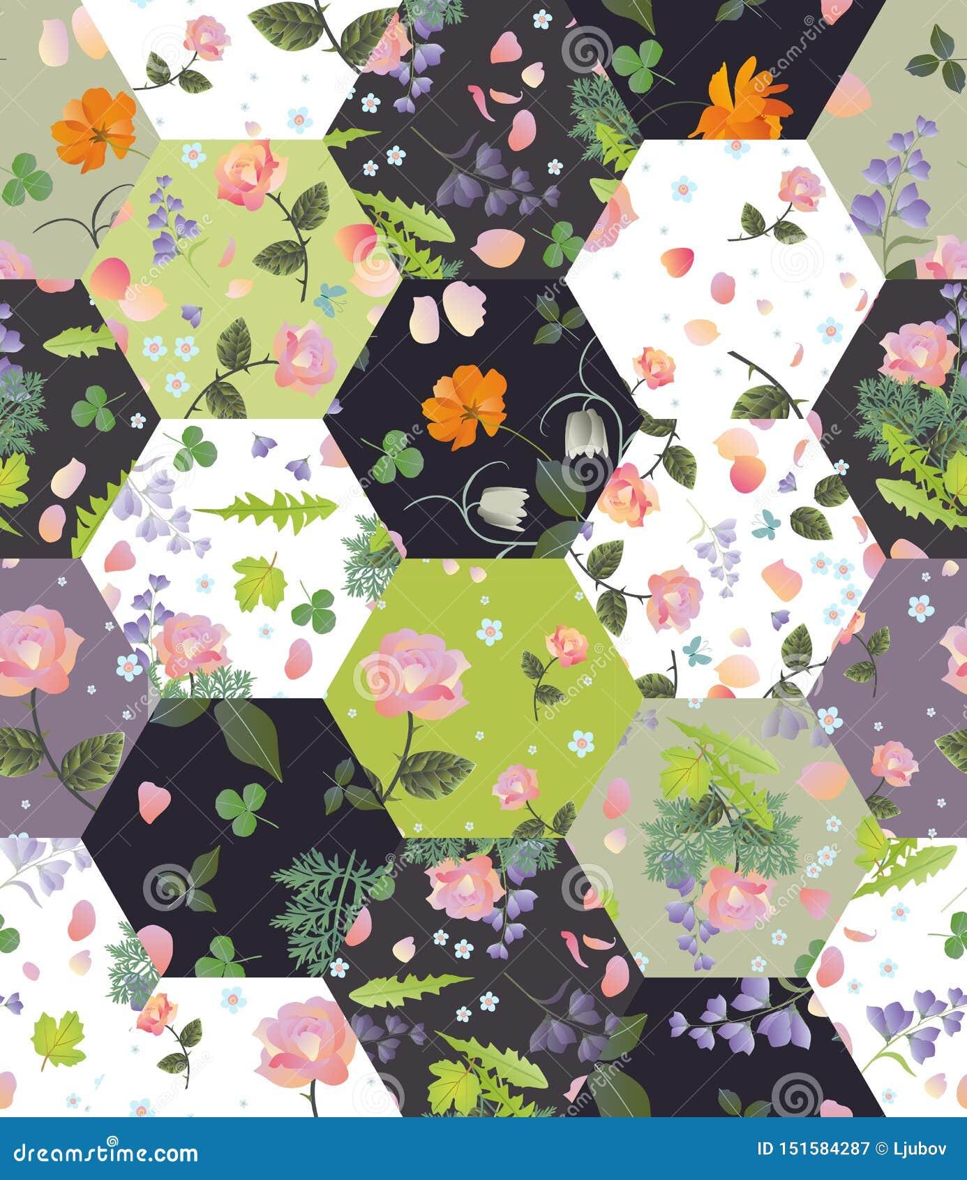 Teste padrão sem emenda dos retalhos com as flores e as folhas bonitas do verão Projeto da edred?o