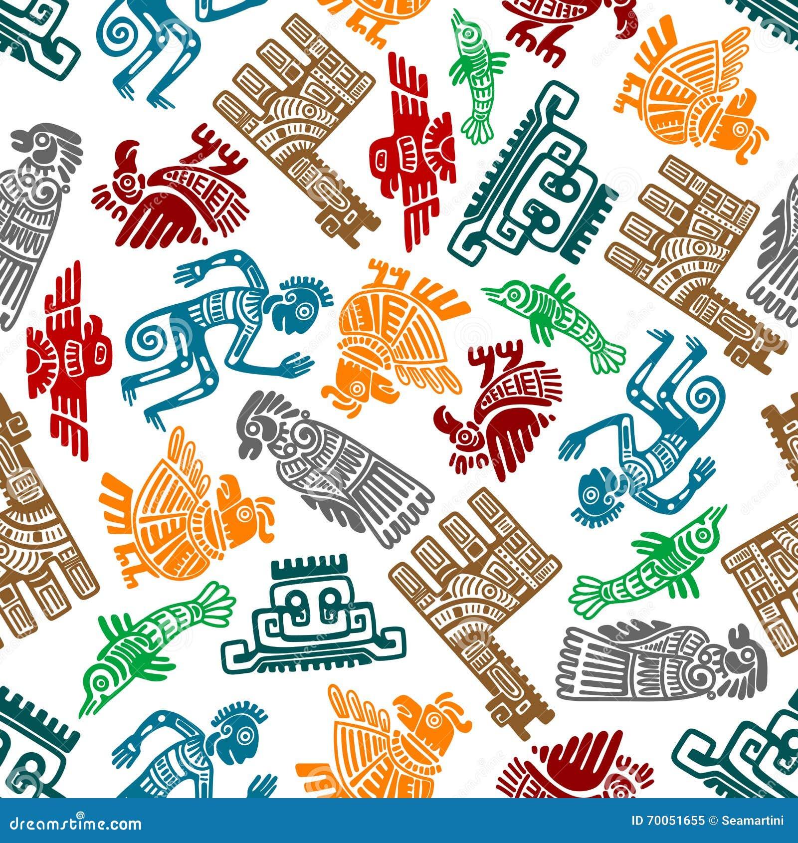 Teste padrão sem emenda dos totens tribais maias e astecas