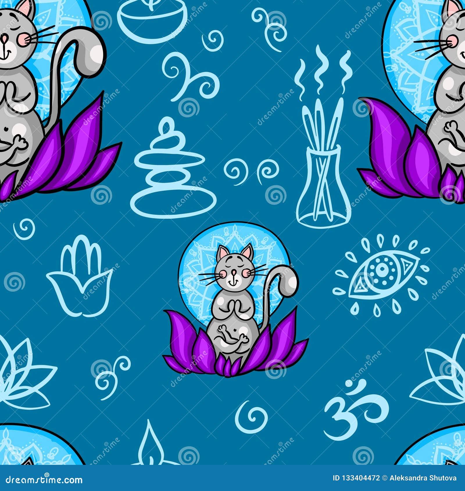 Teste Padrao Sem Emenda Engracado Com O Gato Dos Desenhos Animados