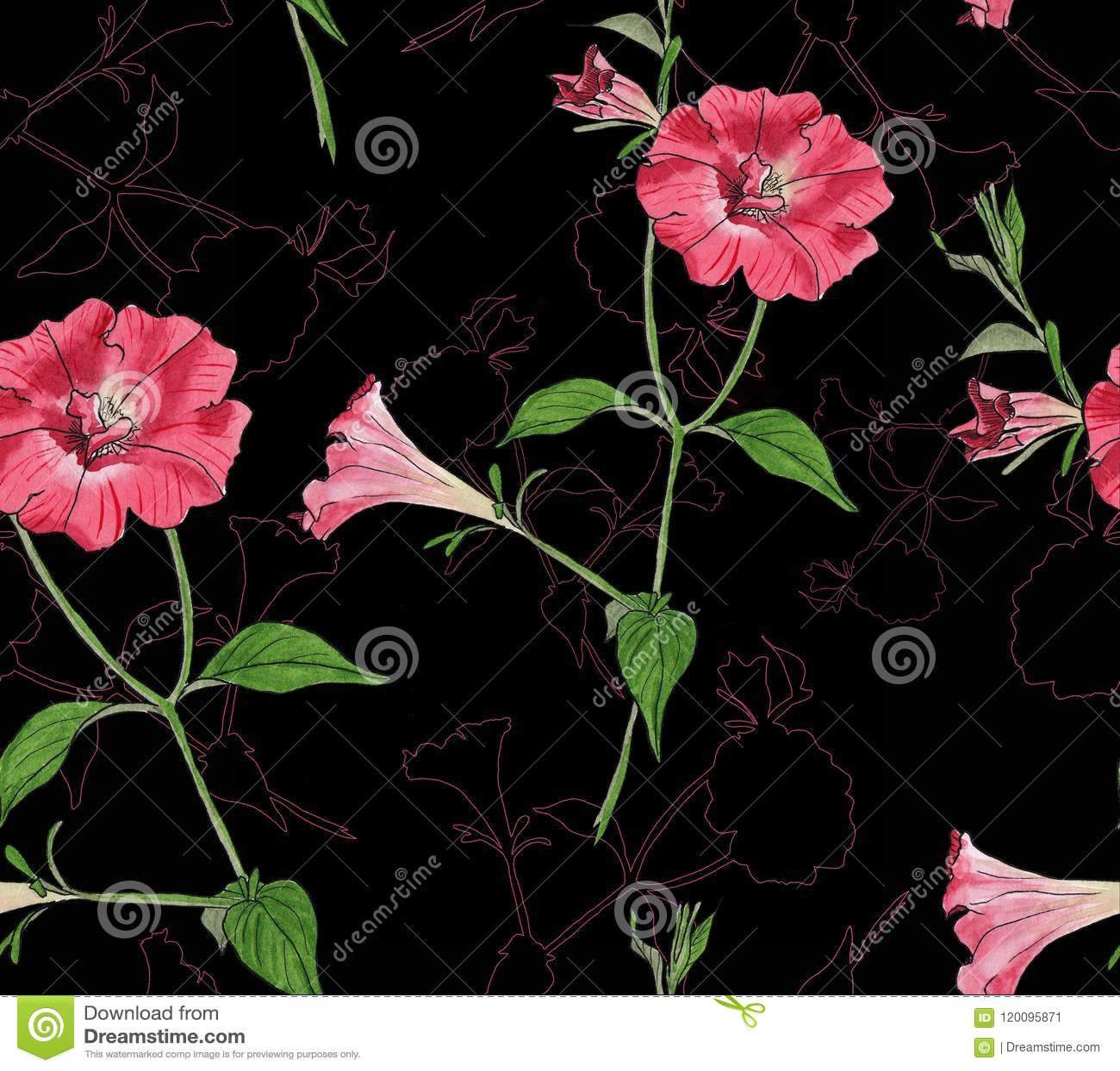 Teste padrão sem emenda floral com petúnias
