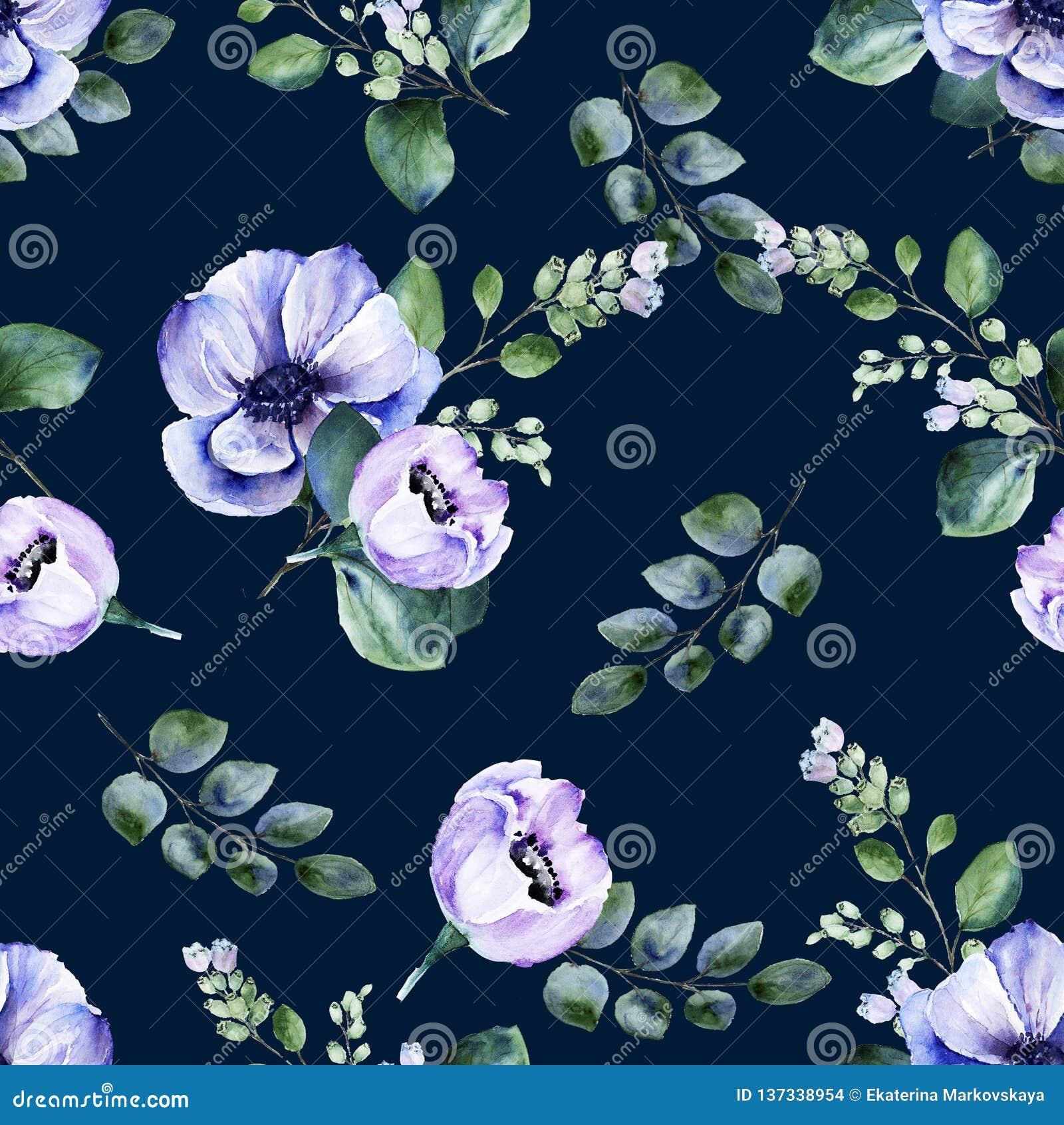 Teste padrão sem emenda floral da aquarela com flores da anêmona e os galhos de florescência do snowberry no fundo escuro