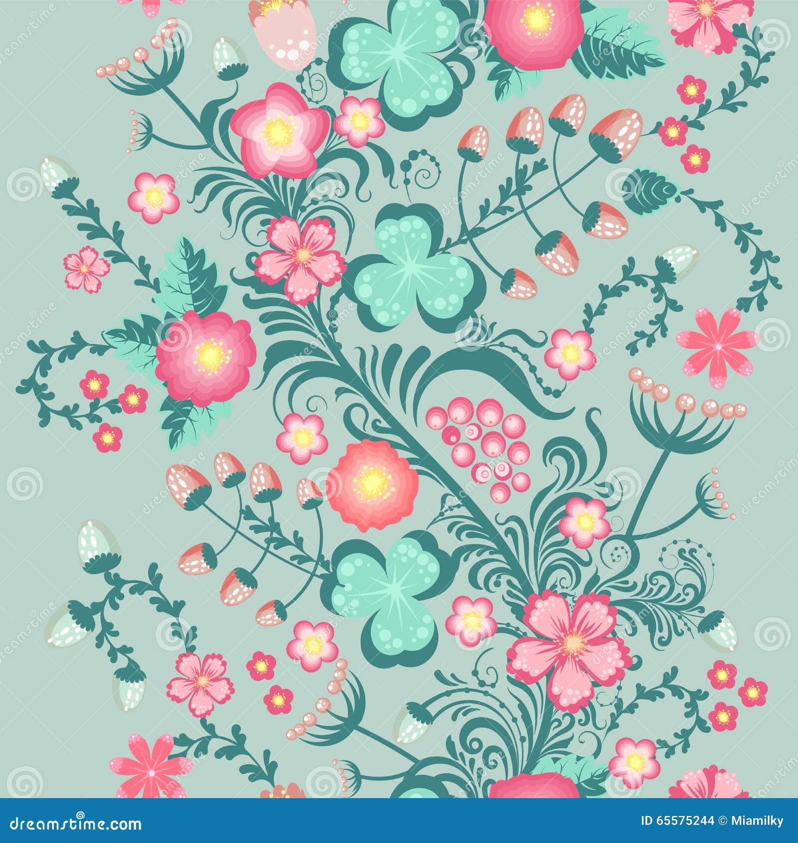 Teste padrão sem emenda floral da mola em cores pastel macias