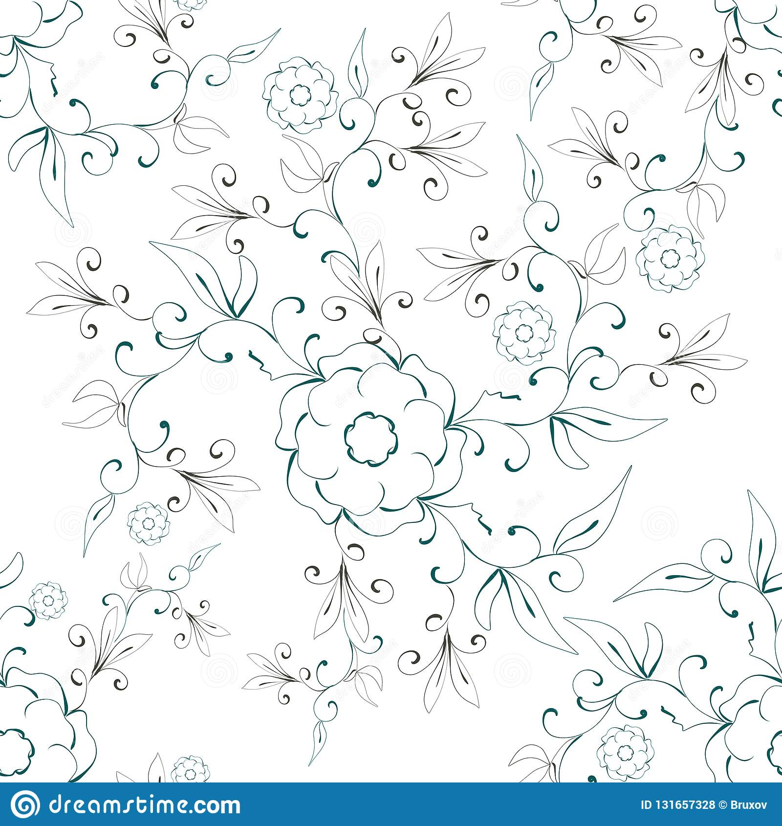 Teste padrão sem emenda floral do sumário da ilustração em um fundo branco