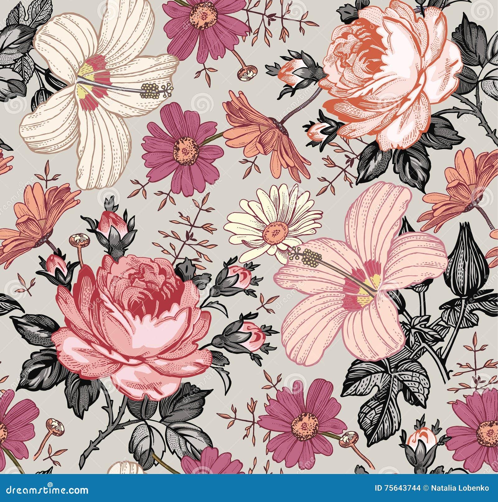 Teste padrão sem emenda Flores isoladas realísticas Fundo do vintage Malva do hibiscus de Rosa da camomila wallpaper Gravura do d