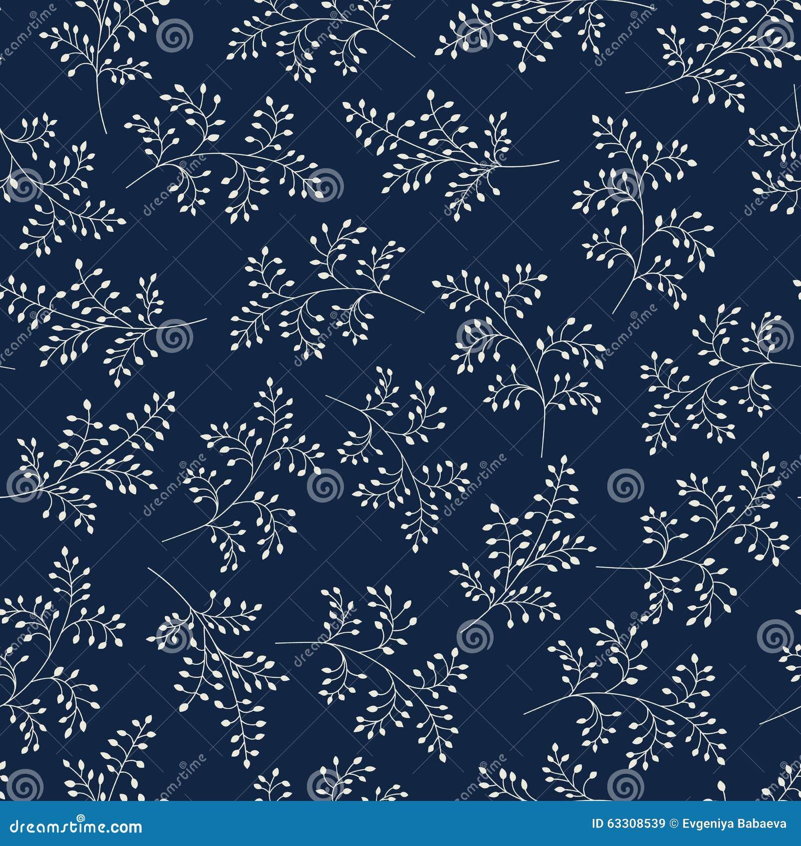 Teste padrão sem emenda Fundo à moda floral Ramos monocromáticos elegantes com folhas