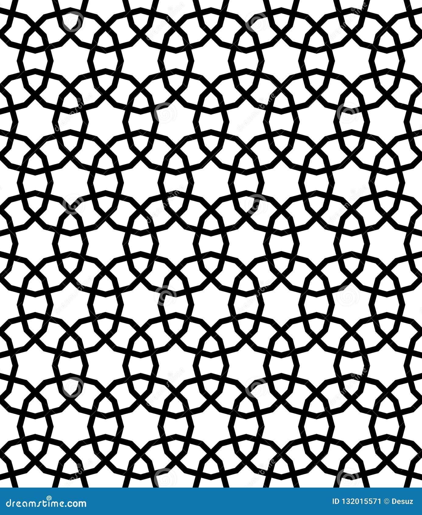 Teste padrão sem emenda geométrico árabe preto e branco, vetor